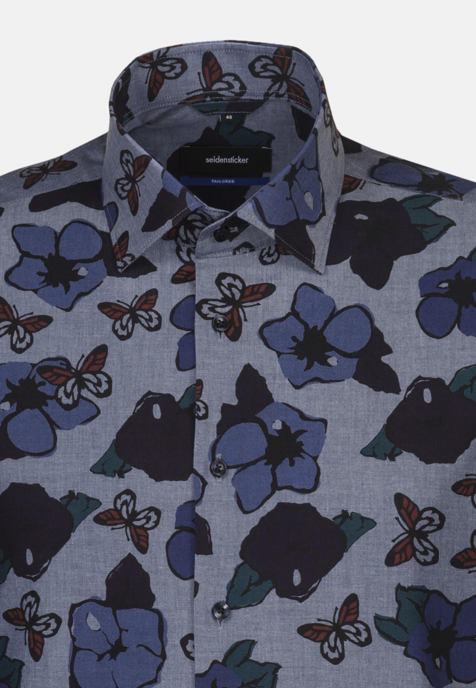Easy-iron Poplin Business Shirt in Tailored with Kent-Collar in Dark blue |  Seidensticker Onlineshop
