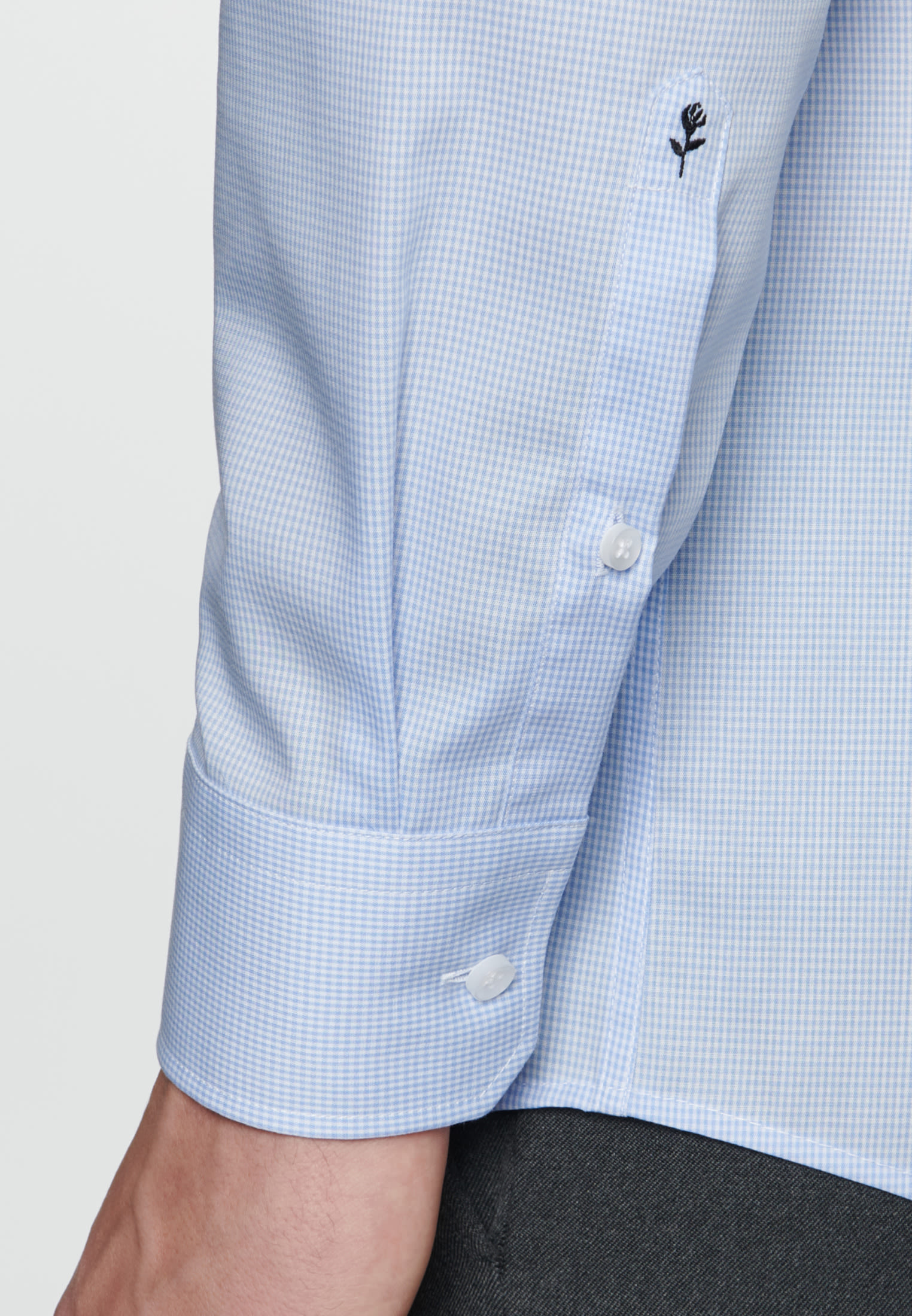Non-iron Poplin Business Shirt in Regular with Kent-Collar in Light blue |  Seidensticker Onlineshop