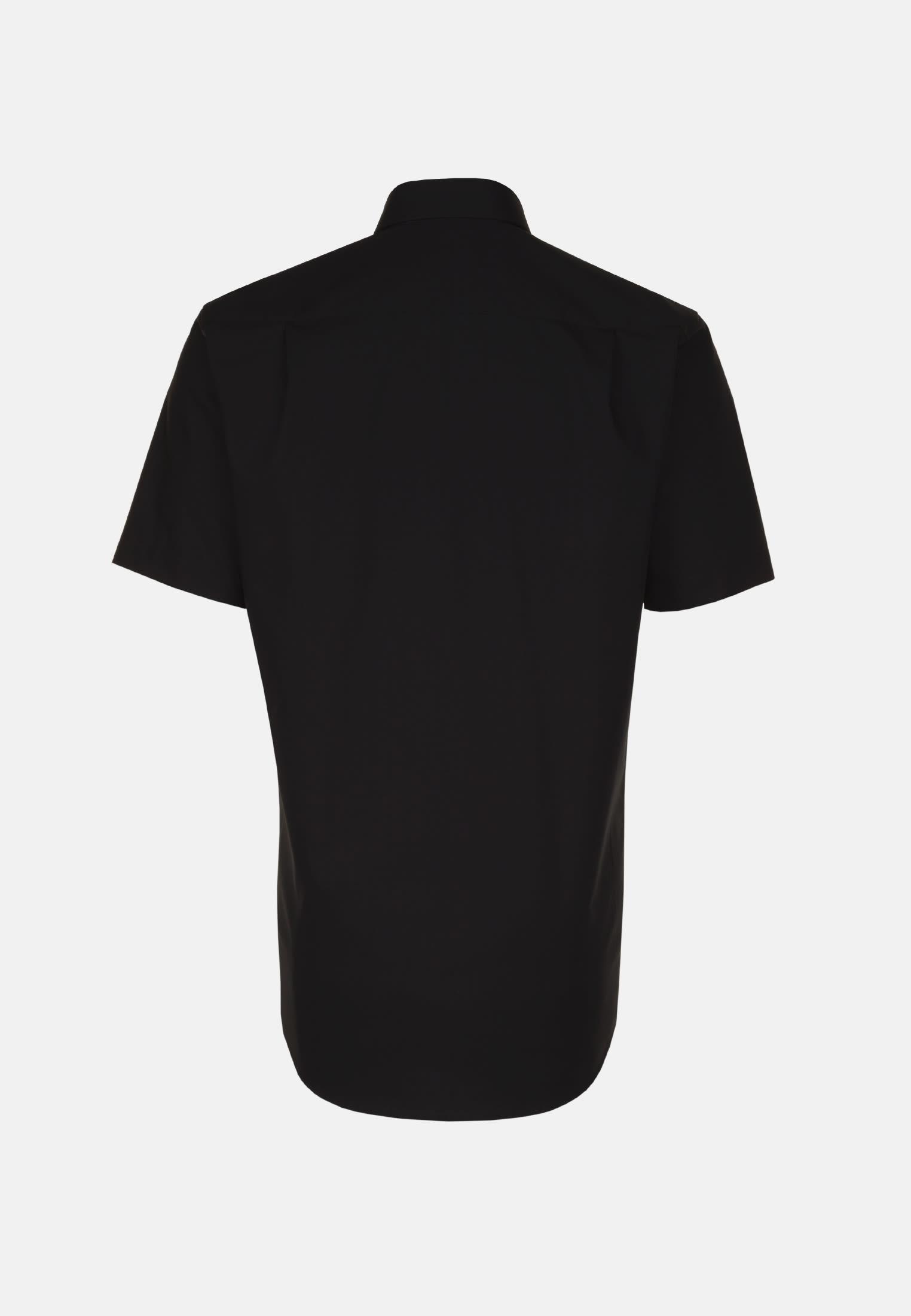 Bügelfreies Popeline Kurzarm Business Hemd in Modern mit Kentkragen in Schwarz |  Seidensticker Onlineshop