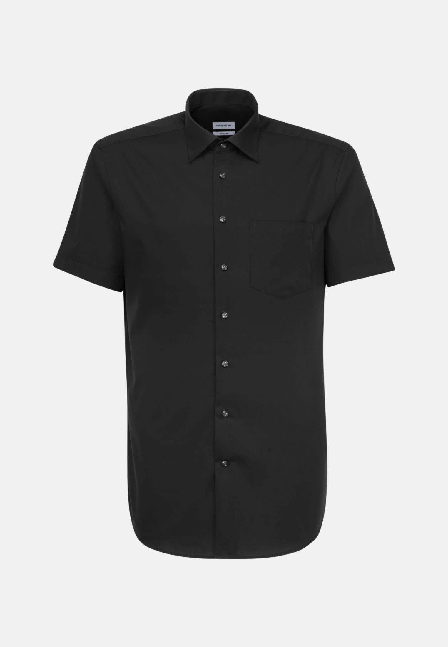 Non-iron Poplin Short sleeve Business Shirt in Regular with Kent-Collar in Black |  Seidensticker Onlineshop