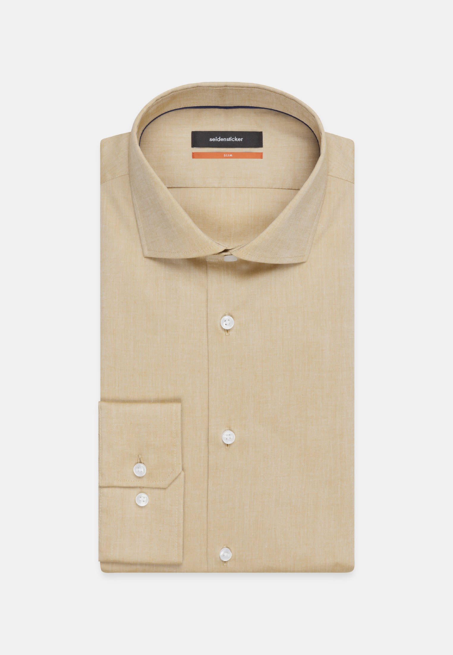 Non-iron Chambray Business Shirt in Slim with Kent-Collar in Brown |  Seidensticker Onlineshop