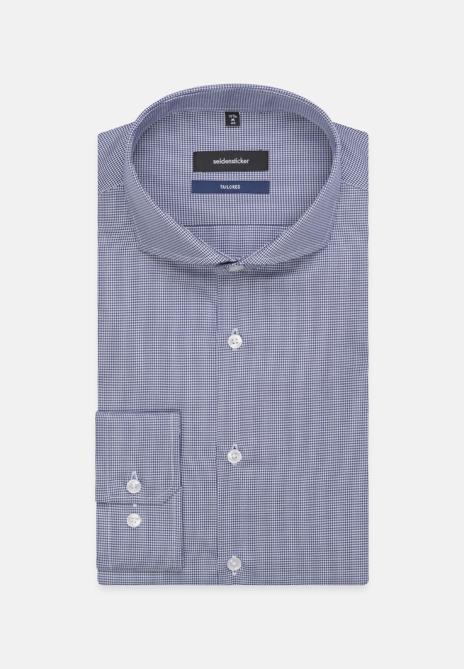 Bügelleichtes Struktur Business Hemd in Shaped mit Haifischkragen in Mittelblau    Seidensticker Onlineshop
