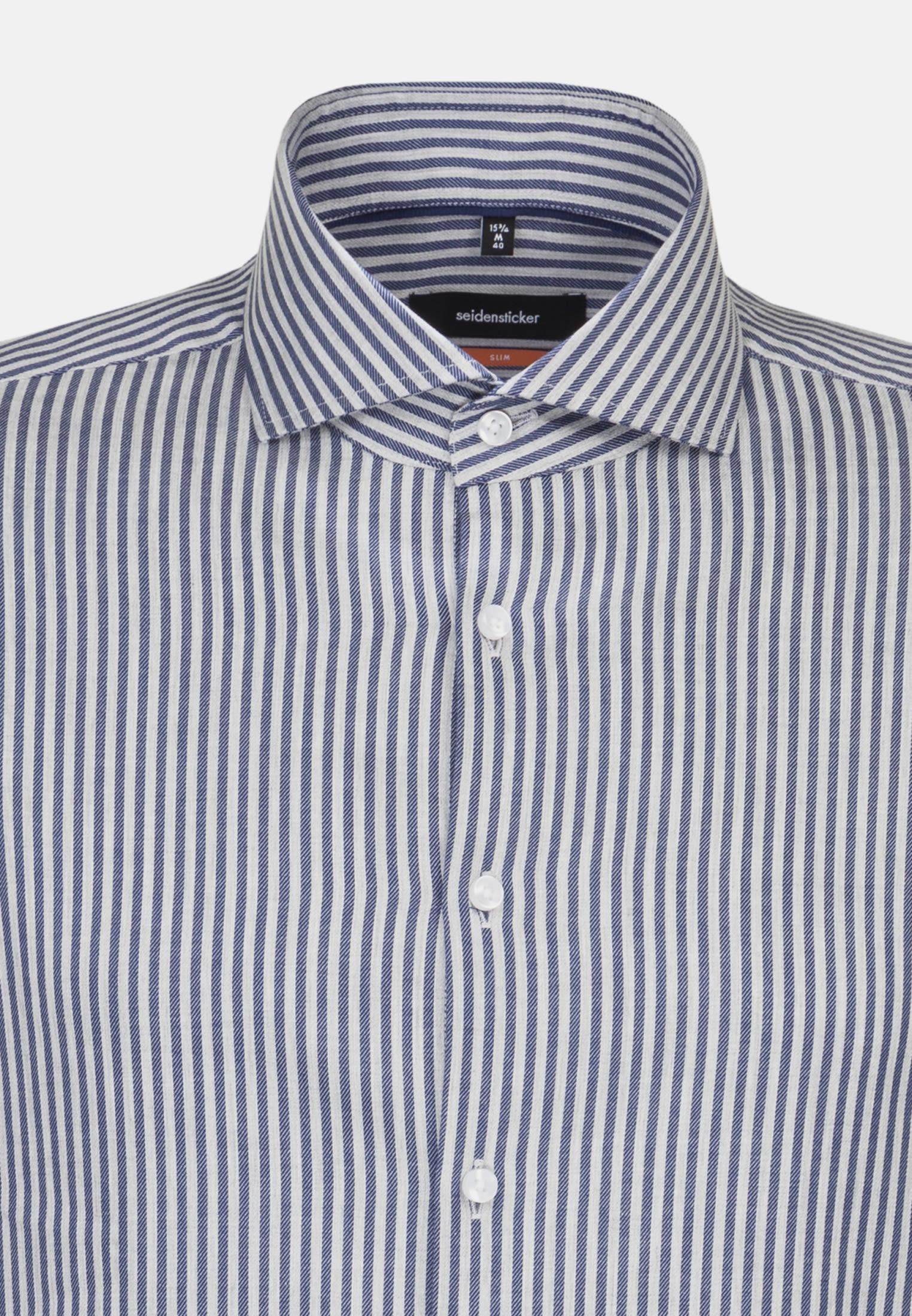 Non-iron Twill Business Shirt in Slim with Shark Collar in Medium blue    Seidensticker Onlineshop