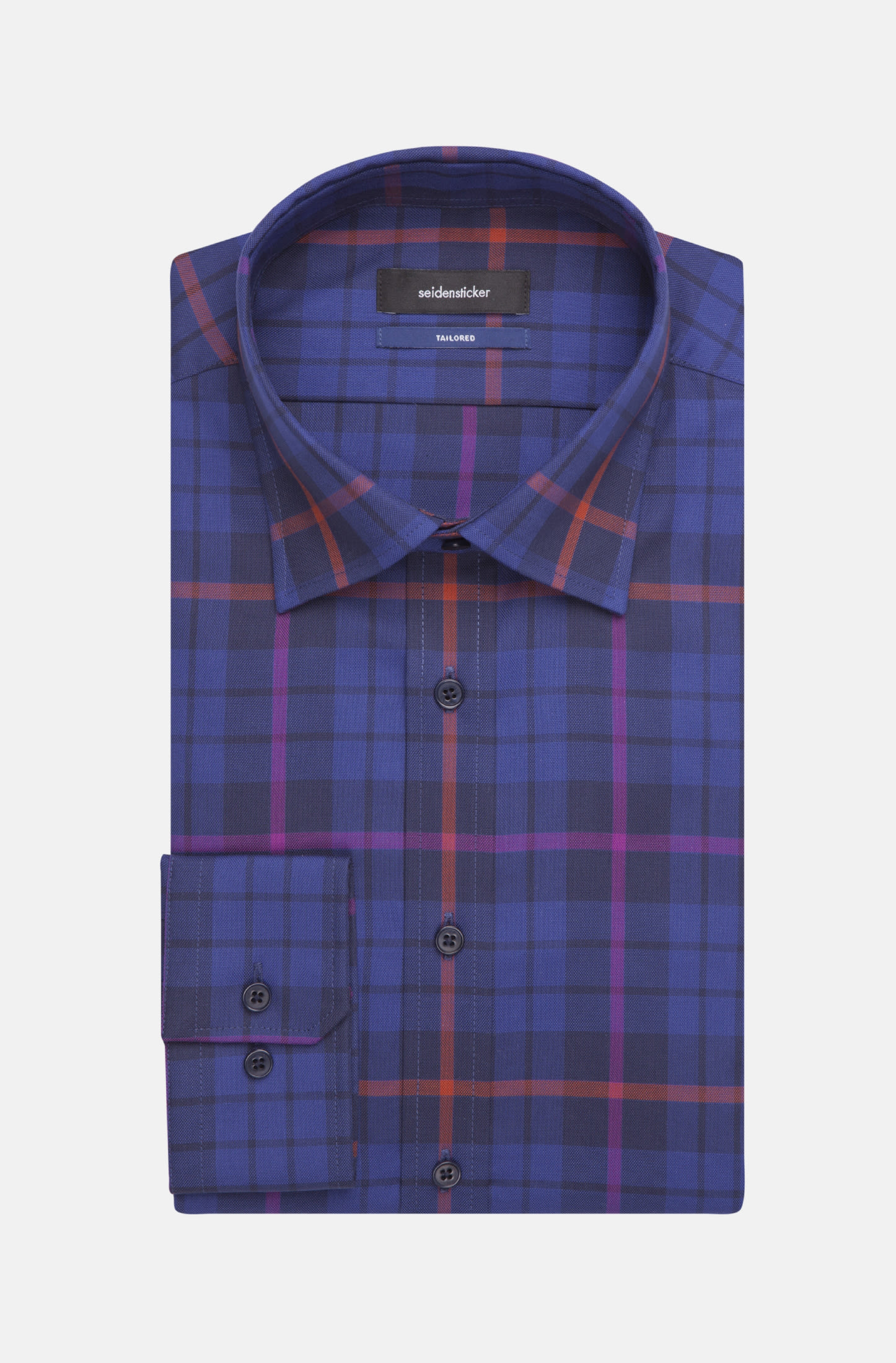 Easy-iron Structure Business Shirt in Tailored with Covered-Button-Down-Collar in Purpla |  Seidensticker Onlineshop