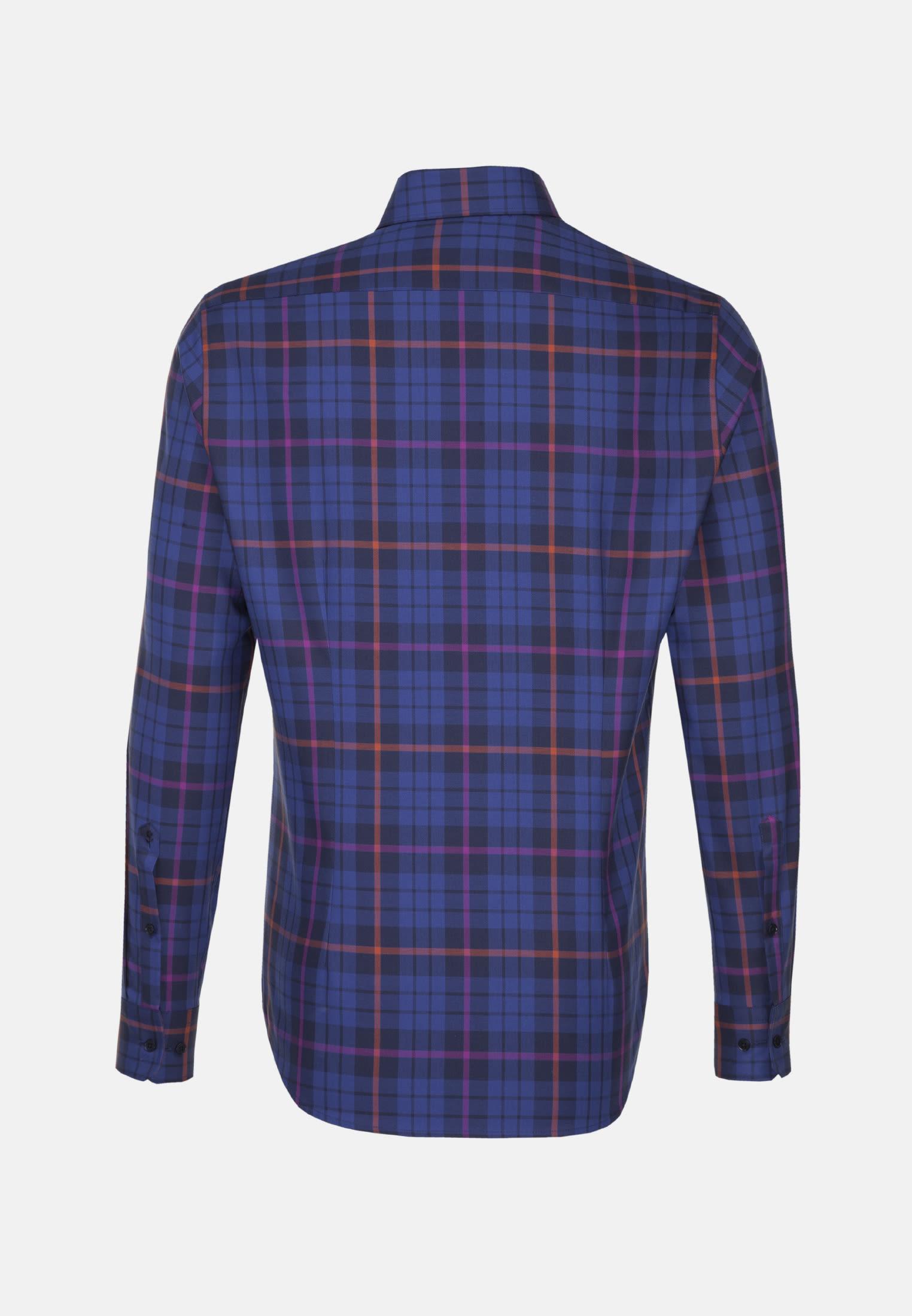 Bügelleichtes Struktur Business Hemd in Shaped mit Covered-Button-Down-Kragen in Lila |  Seidensticker Onlineshop