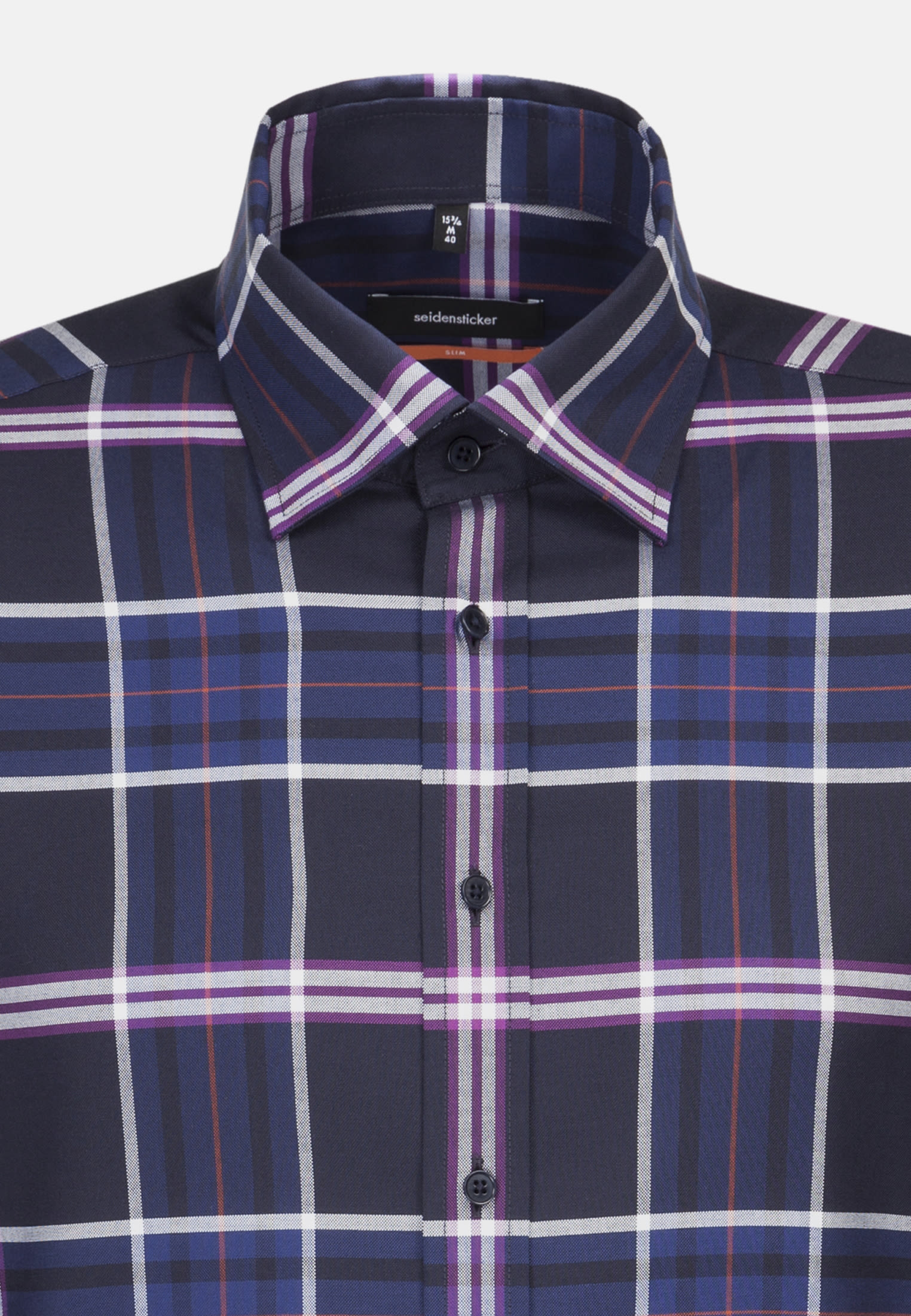 Non-iron Twill Business Shirt in Slim with Covered-Button-Down-Collar in Purple |  Seidensticker Onlineshop