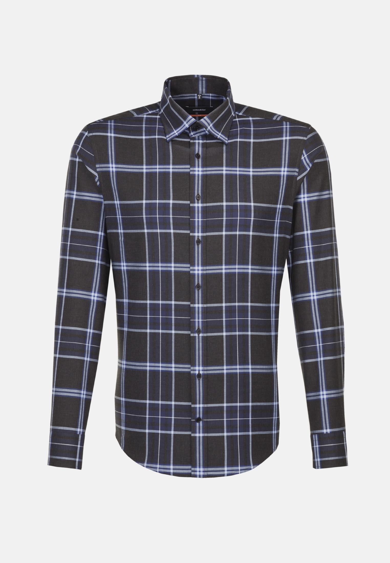 Non-iron Twill Business Shirt in Slim with Covered-Button-Down-Collar in Dark blue |  Seidensticker Onlineshop