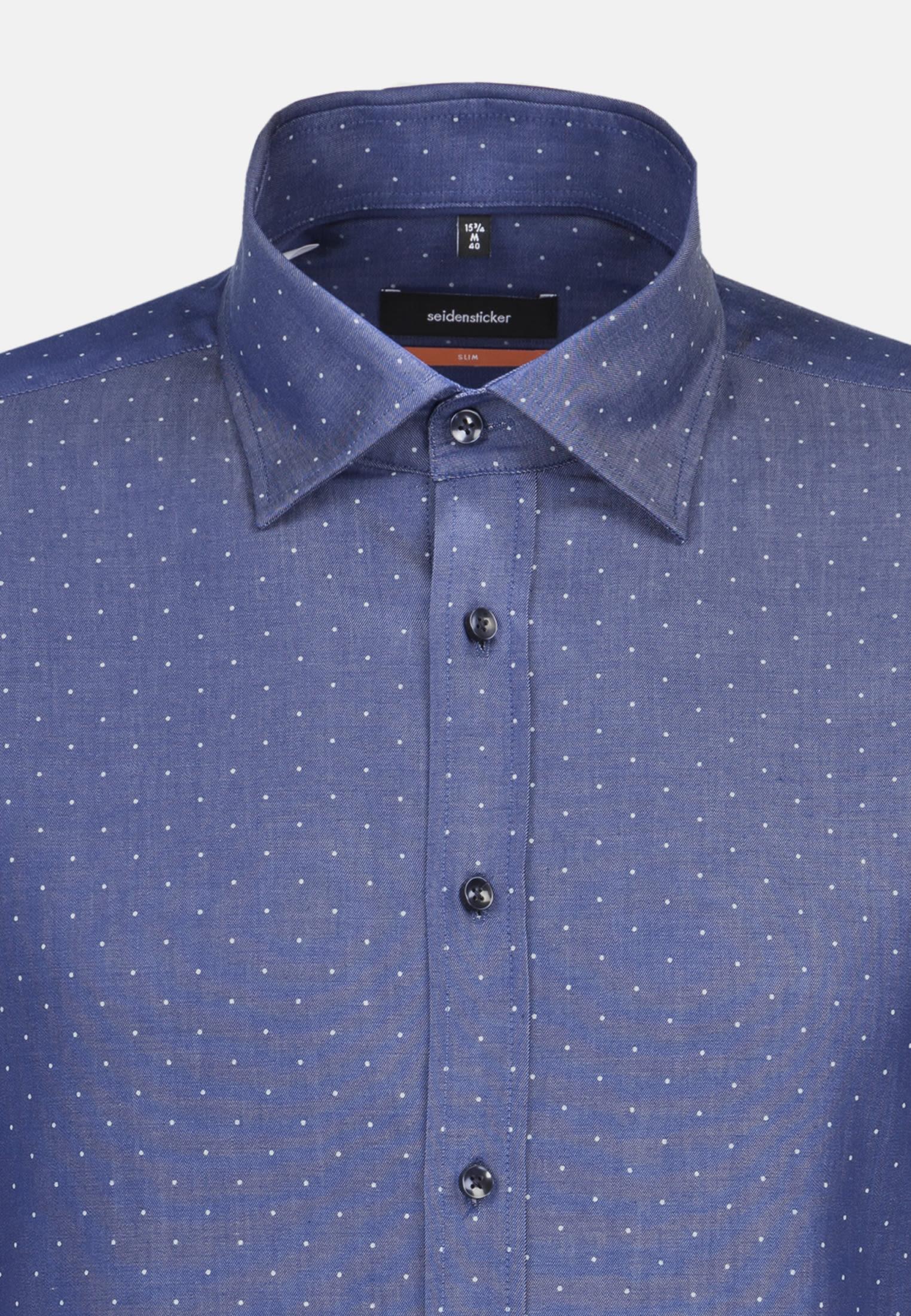 Easy-iron Twill Business Shirt in Slim with Covered-Button-Down-Collar in Medium blue |  Seidensticker Onlineshop
