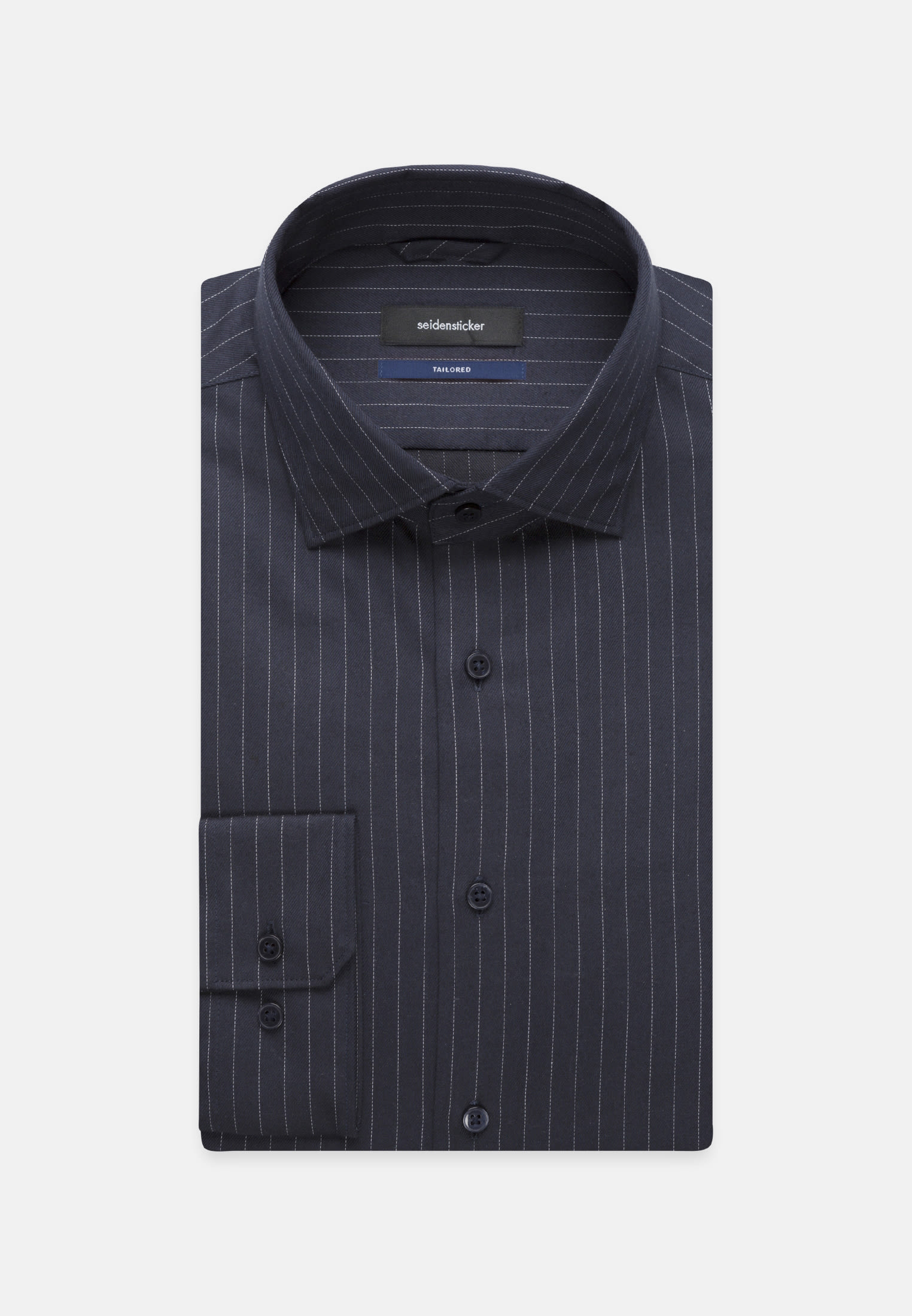 Easy-iron Twill Business Shirt in Tailored with Kent-Collar in Dark blue |  Seidensticker Onlineshop