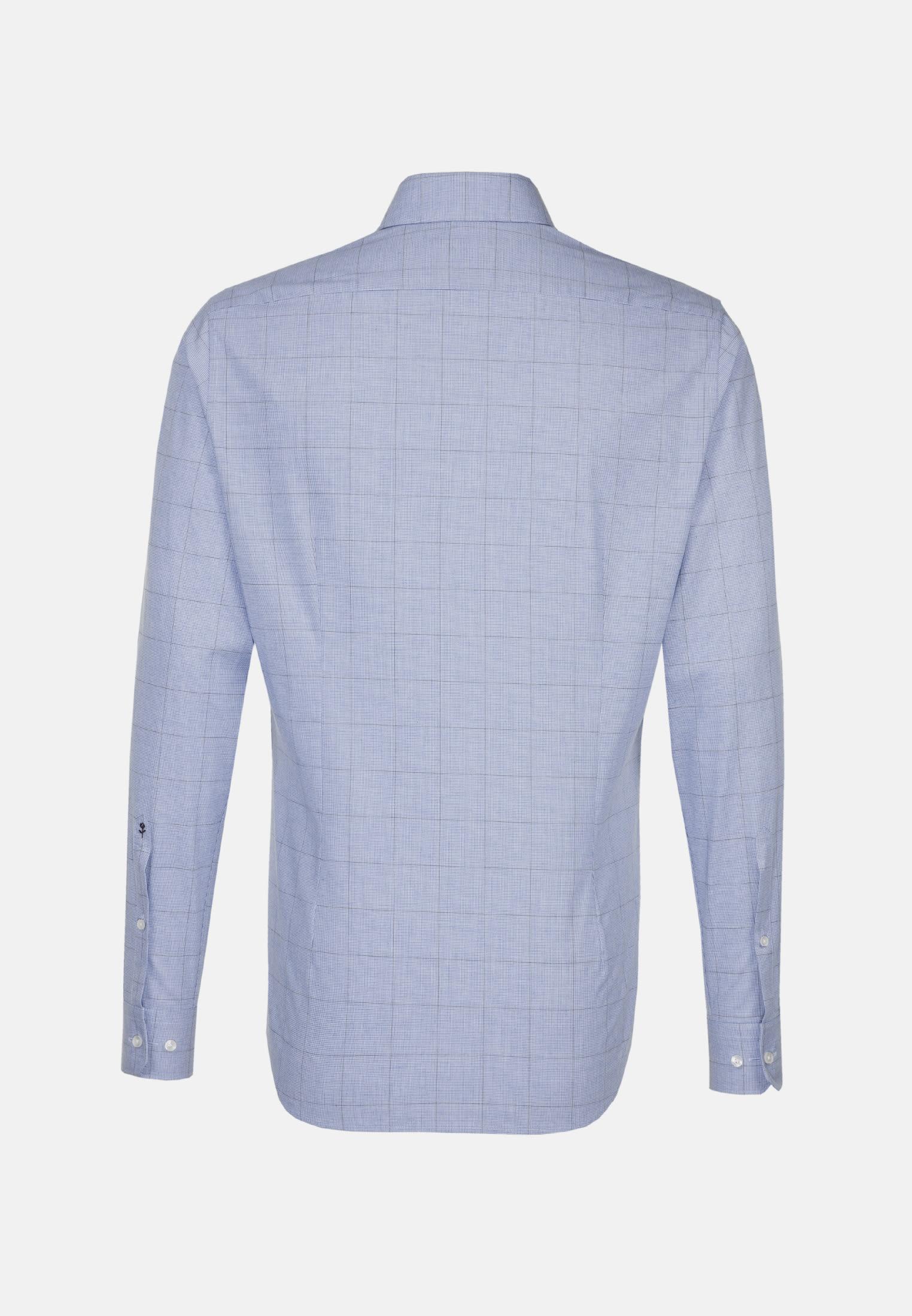 Bügelleichtes Pepita Business Hemd in Slim mit Kentkragen in Mittelblau |  Seidensticker Onlineshop