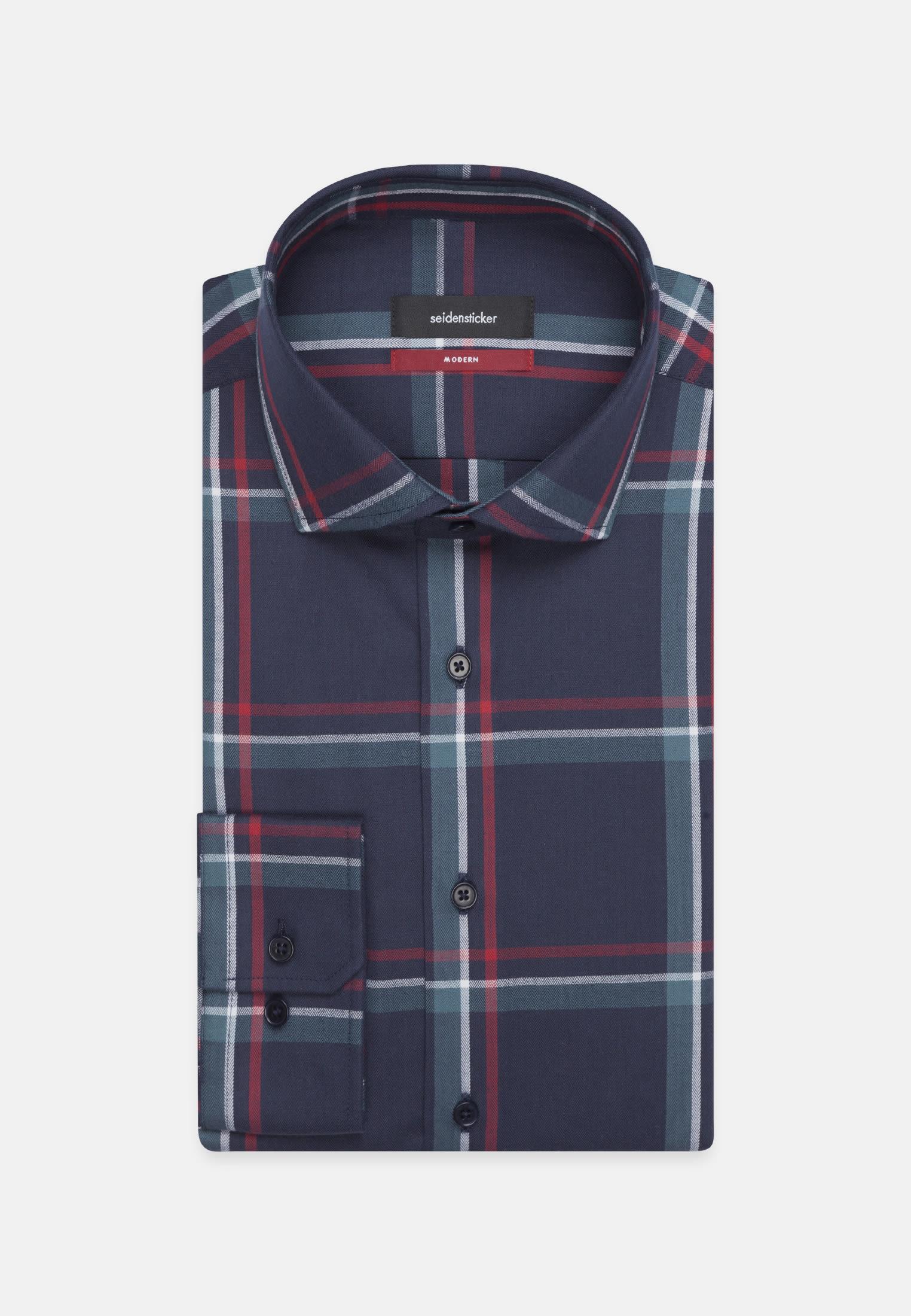 Easy-iron Herringbone pattern Business Shirt in Modern with Kent-Collar in Dark blue    Seidensticker Onlineshop