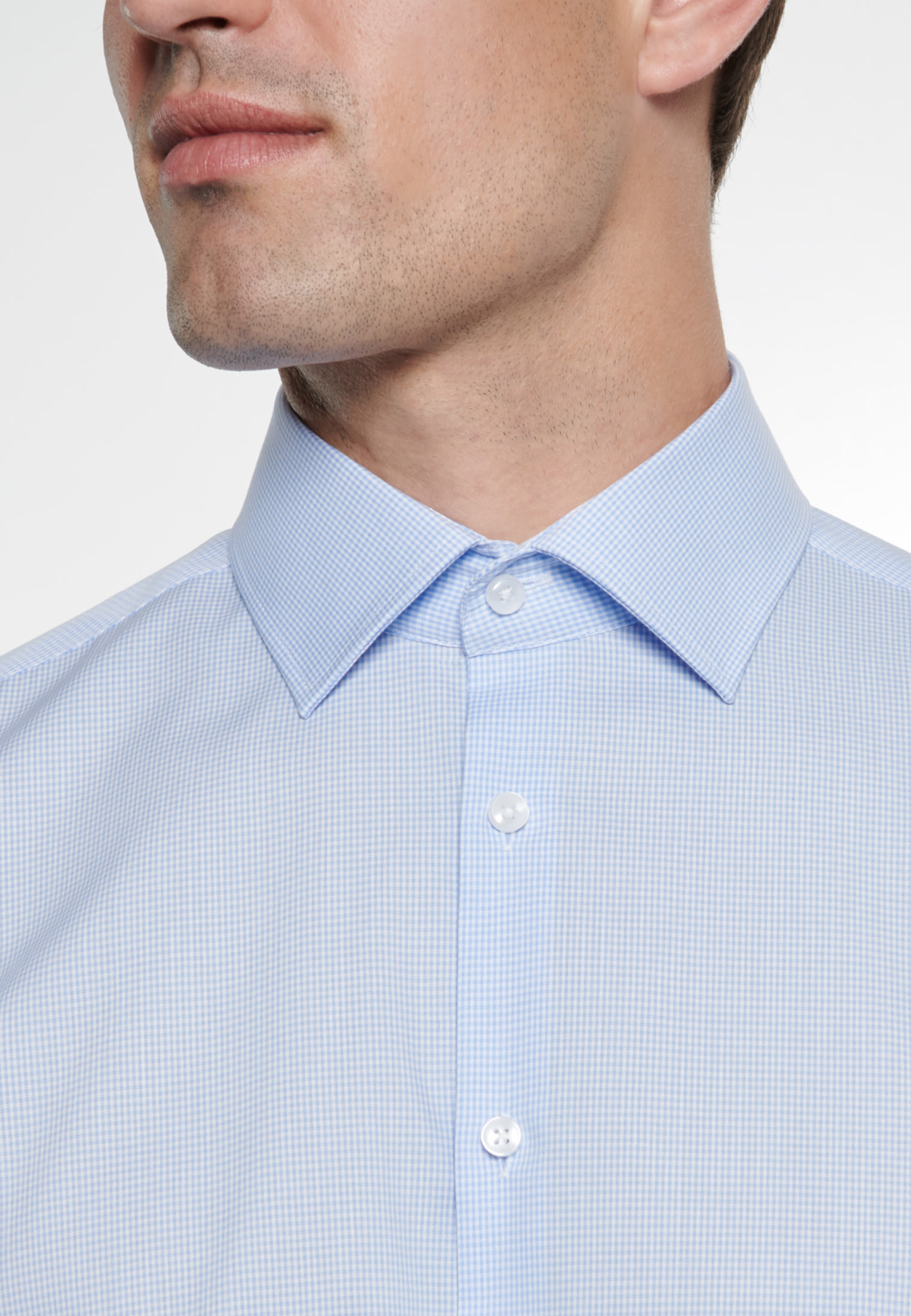 Non-iron Poplin Business Shirt in Tailored with Kent-Collar in Light blue |  Seidensticker Onlineshop