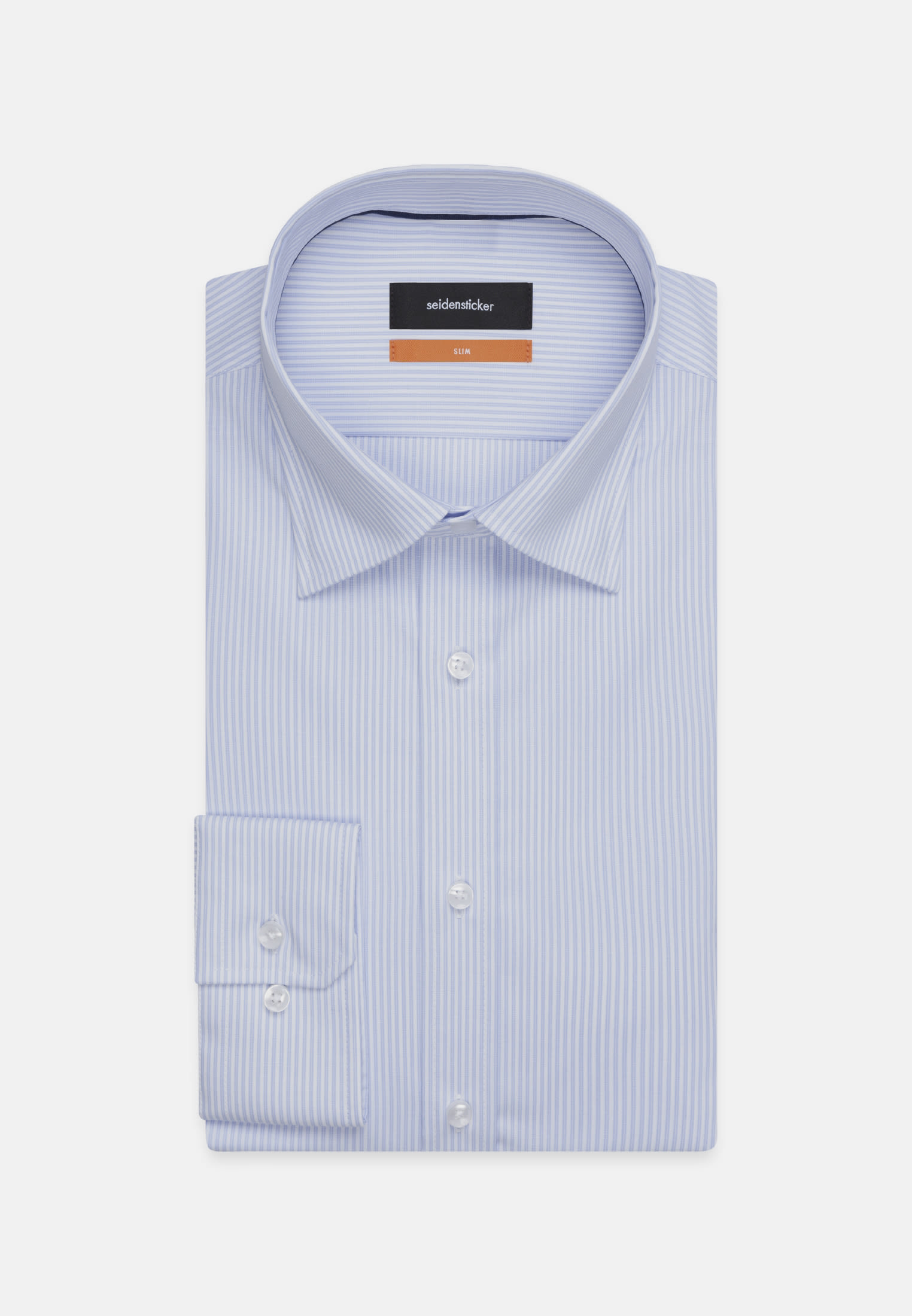 Non-iron Poplin Business Shirt in Slim with Covered-Button-Down-Collar in Light blue |  Seidensticker Onlineshop