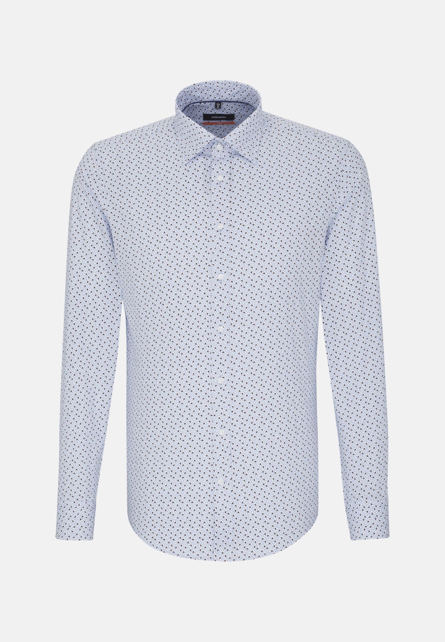 Easy-iron Poplin Business Shirt in Slim with Covered-Button-Down-Collar in Light blue |  Seidensticker Onlineshop