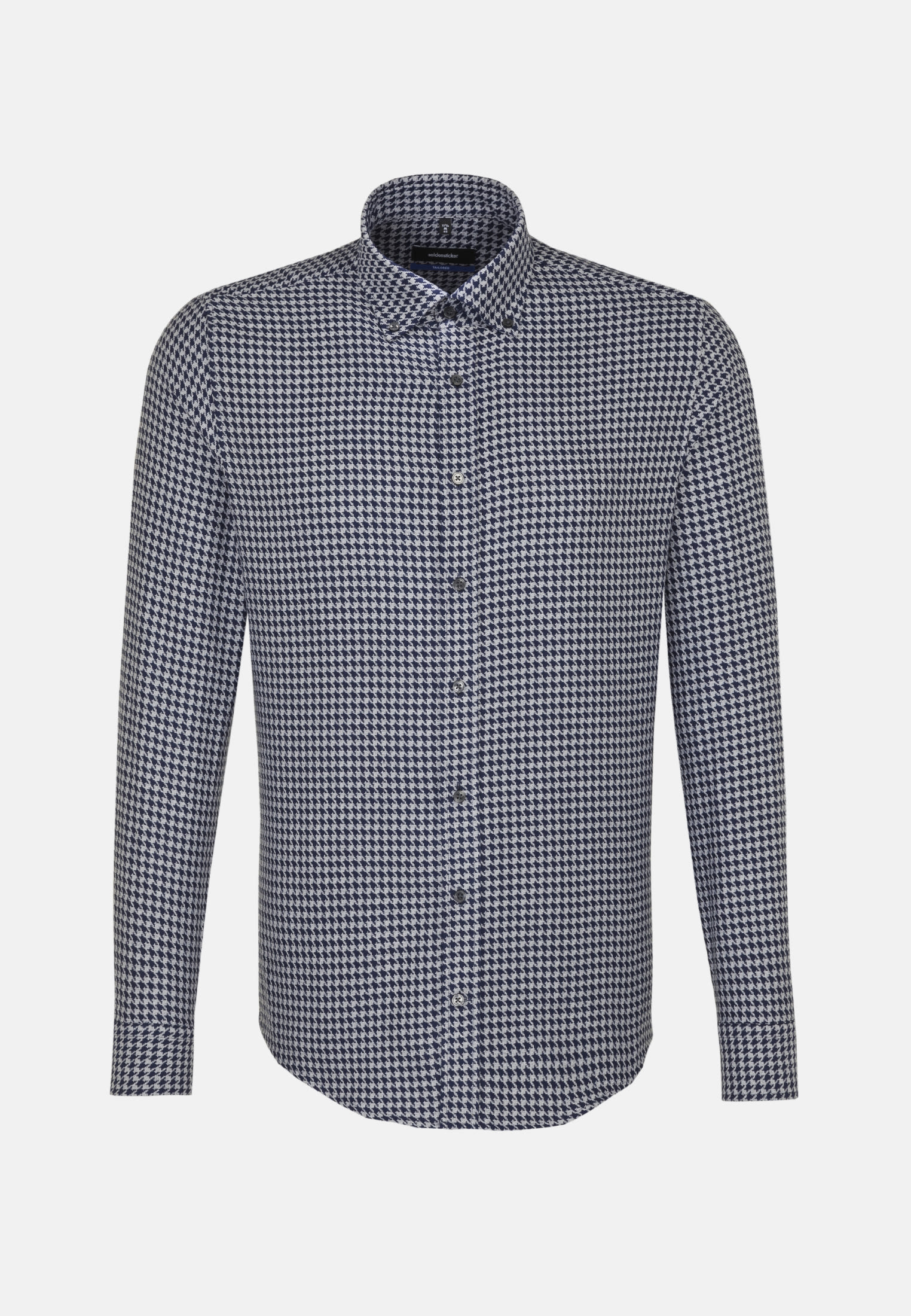 Easy-iron Houndstooth pattern Business Shirt in Shaped with Button-Down-Collar in Dark blue    Seidensticker Onlineshop