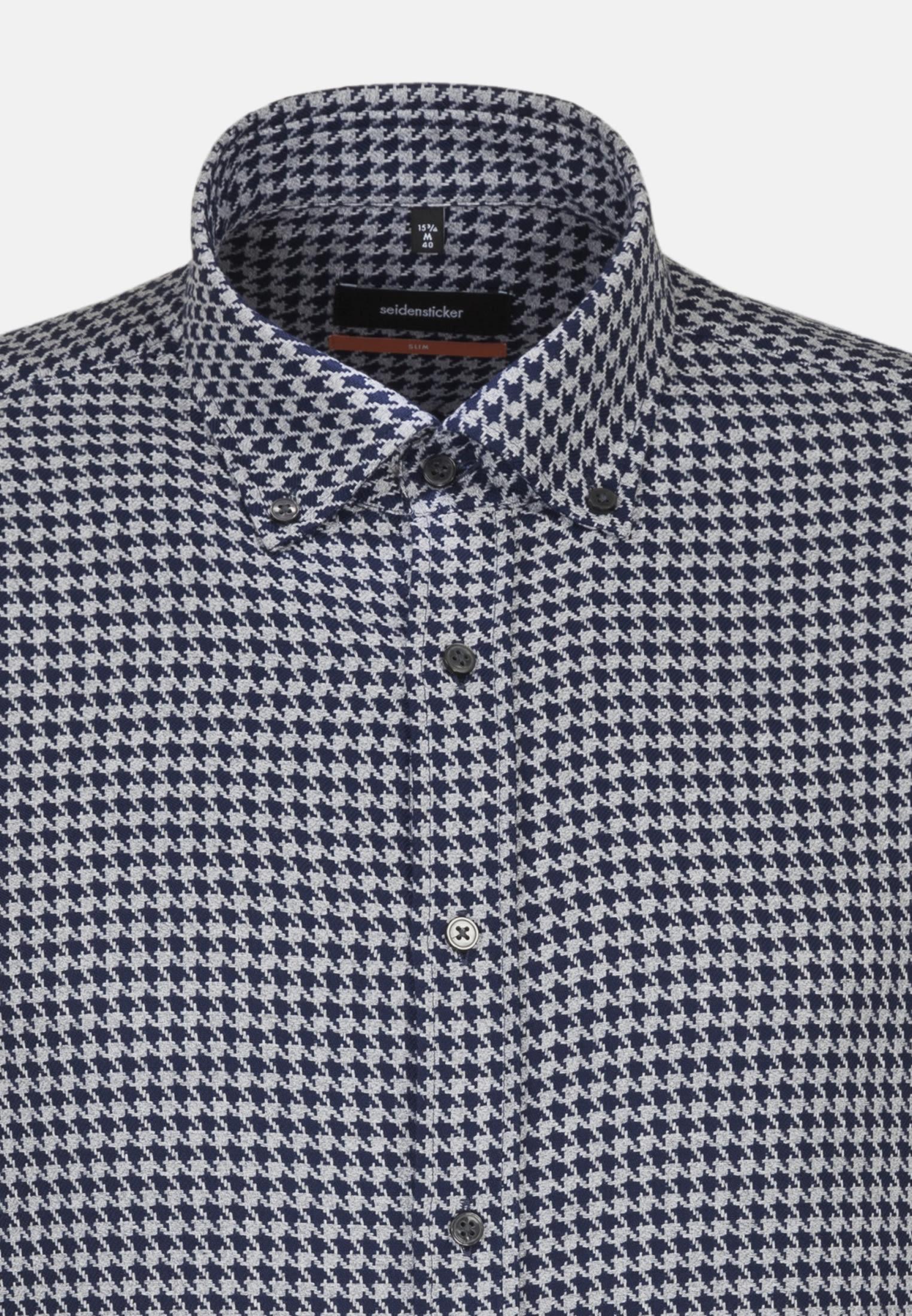 Easy-iron Houndstooth pattern Business Shirt in Slim with Button-Down-Collar in blau |  Seidensticker Onlineshop