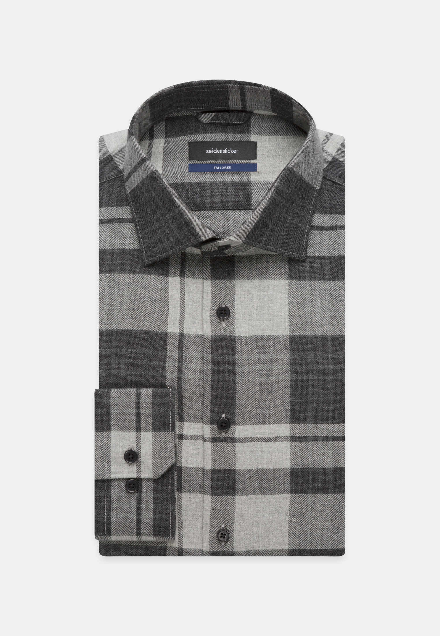 Easy-iron Herringbone pattern Business Shirt in Tailored with Kent-Collar in grau |  Seidensticker Onlineshop