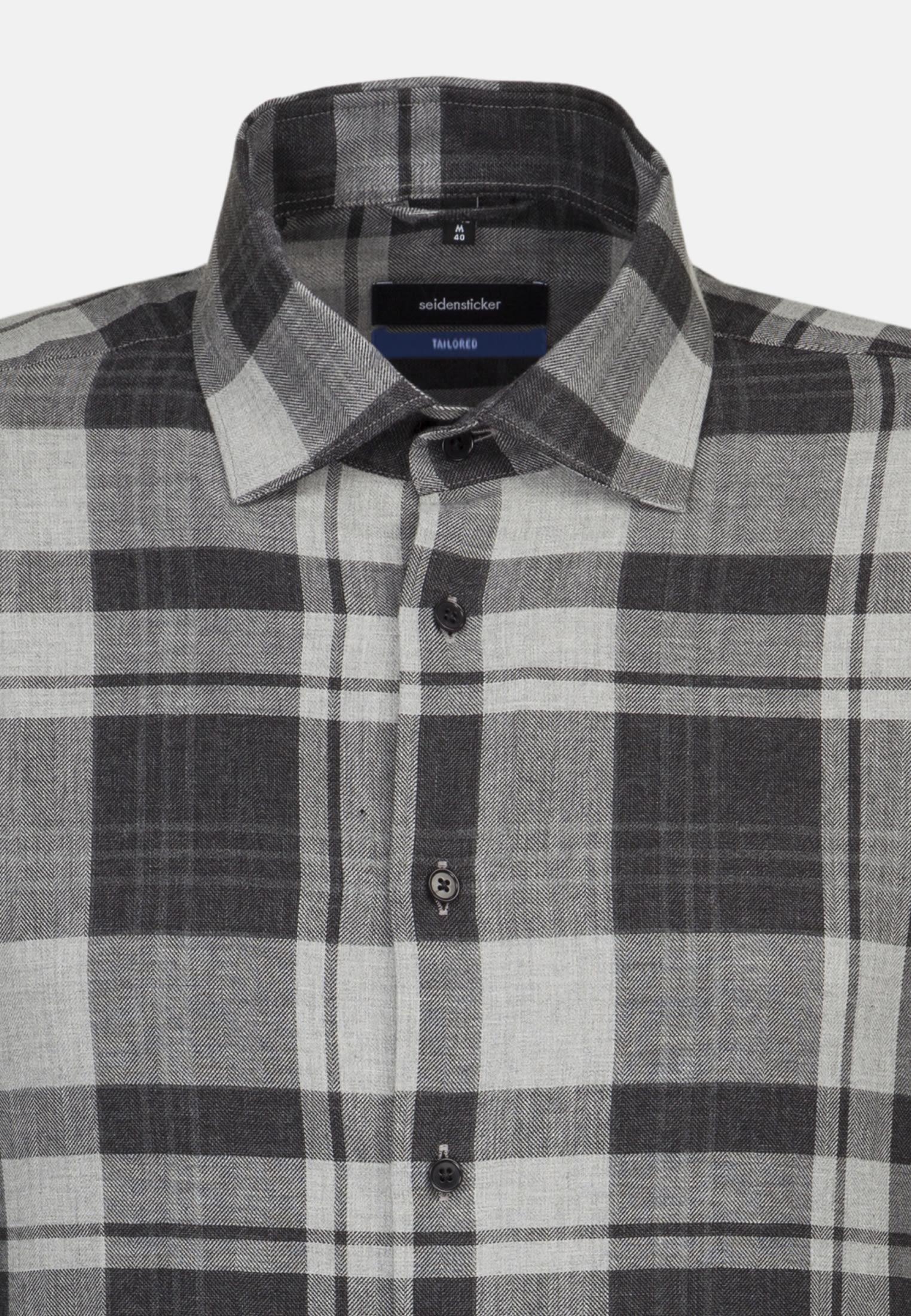 Bügelleichtes Fischgrat Business Hemd in Shaped mit Kentkragen in Grau |  Seidensticker Onlineshop