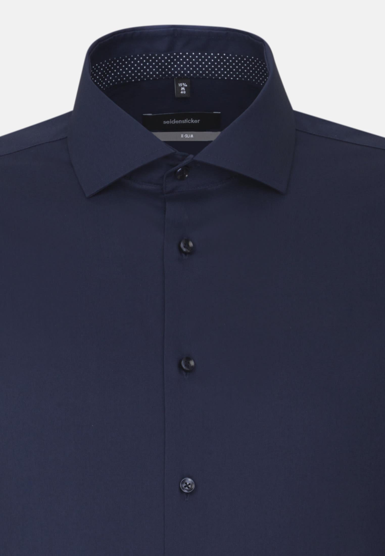 Bügelfreies Fil a fil Business Hemd in X-Slim mit Kentkragen in Dunkelblau    Seidensticker Onlineshop