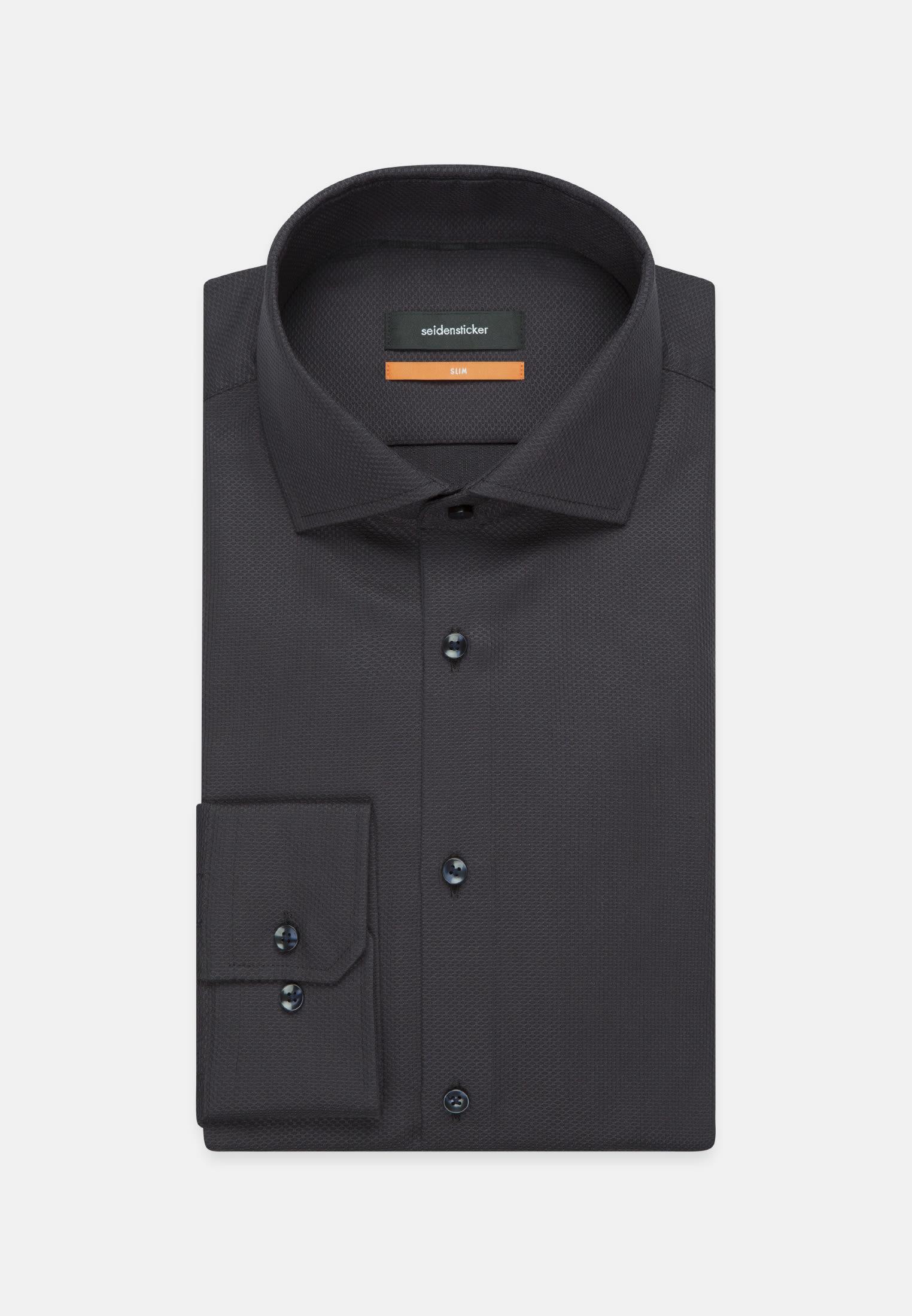 Easy-iron Structure Business Shirt in Slim with Kent-Collar in Black |  Seidensticker Onlineshop