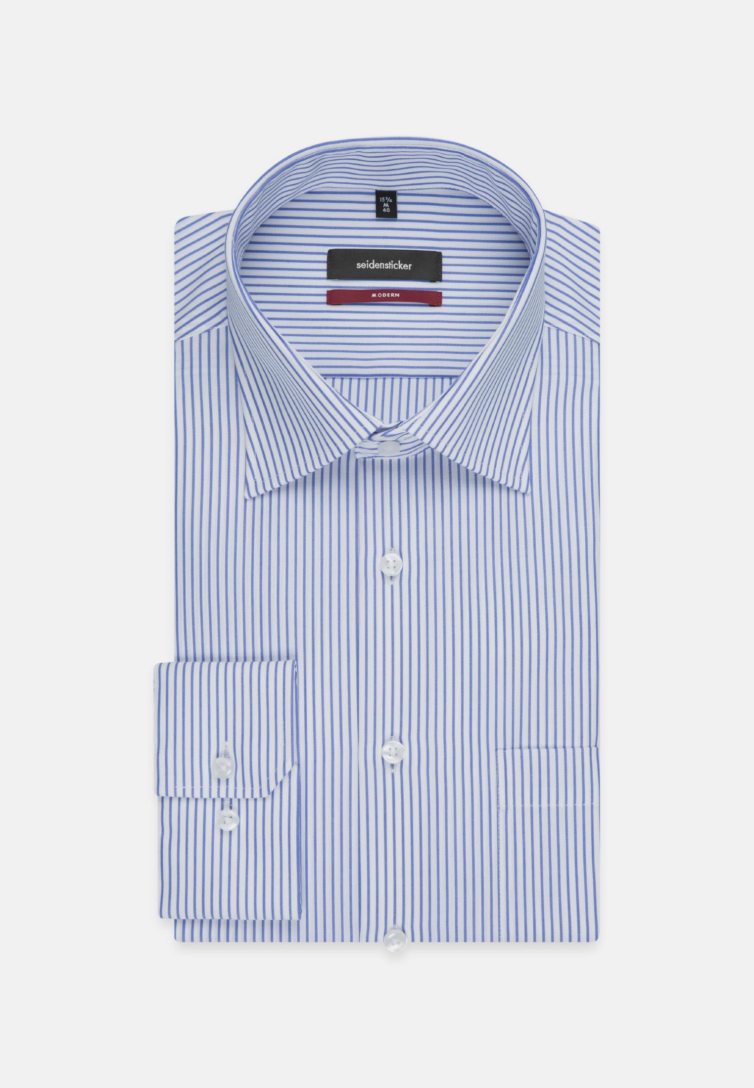 Non-iron Poplin Business Shirt in Regular with Kent-Collar and extra long sleeve in Medium blue |  Seidensticker Onlineshop