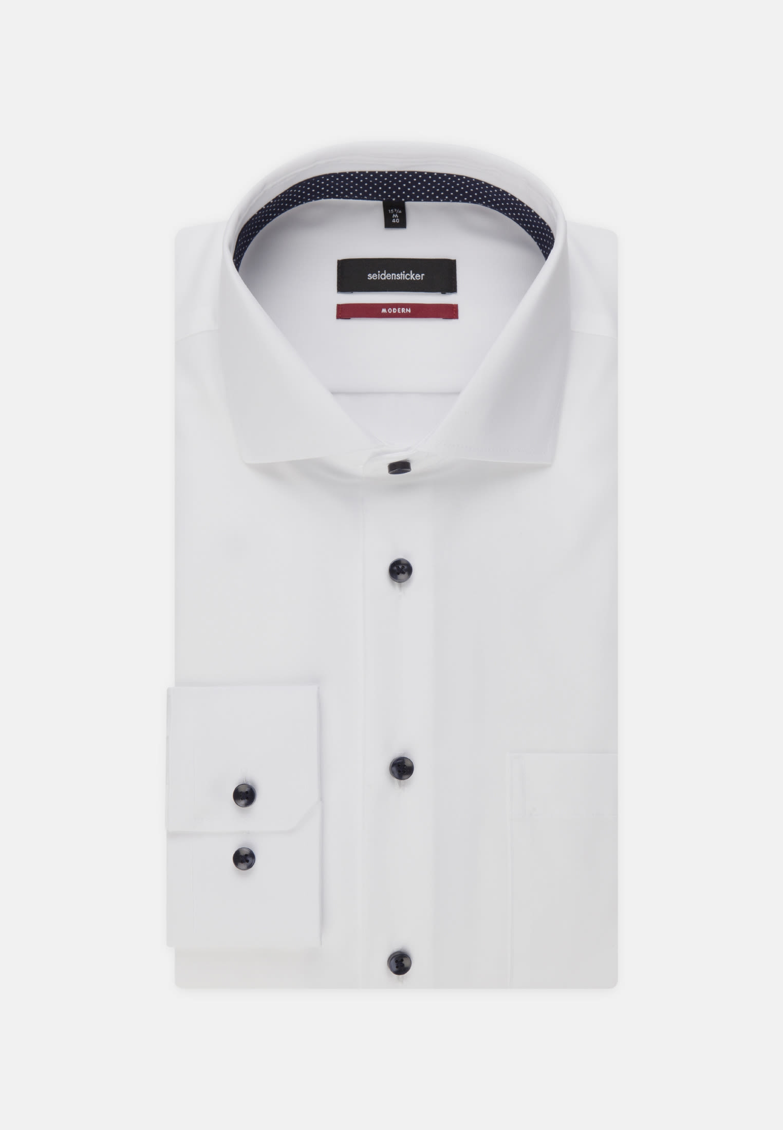 Non-iron Fil a fil Business Shirt in Modern with Kent-Collar and extra long arm in White |  Seidensticker Onlineshop