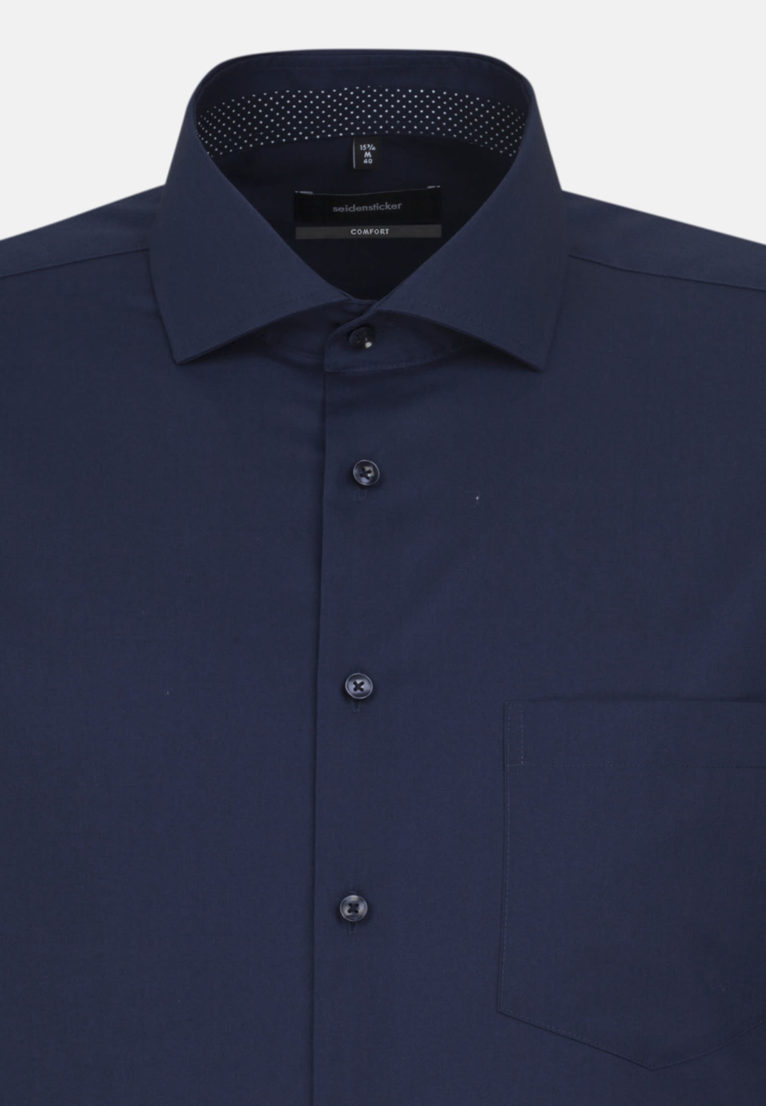 Bügelfreies Fil a fil Business Hemd in Comfort mit Kentkragen in Dunkelblau    Seidensticker Onlineshop