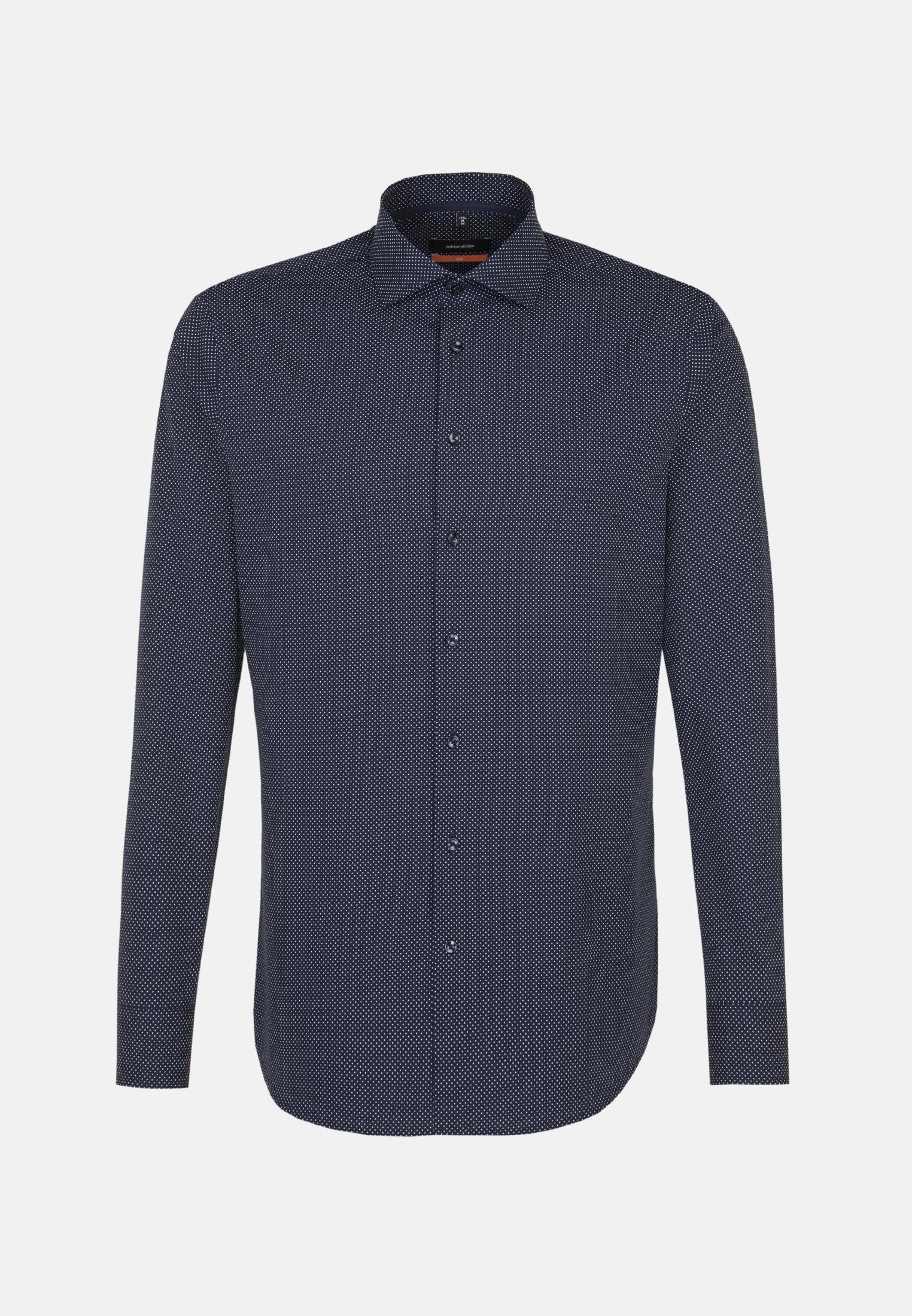 Easy-iron Poplin Business Shirt in Slim with Kent-Collar and extra long sleeve in Dark blue |  Seidensticker Onlineshop