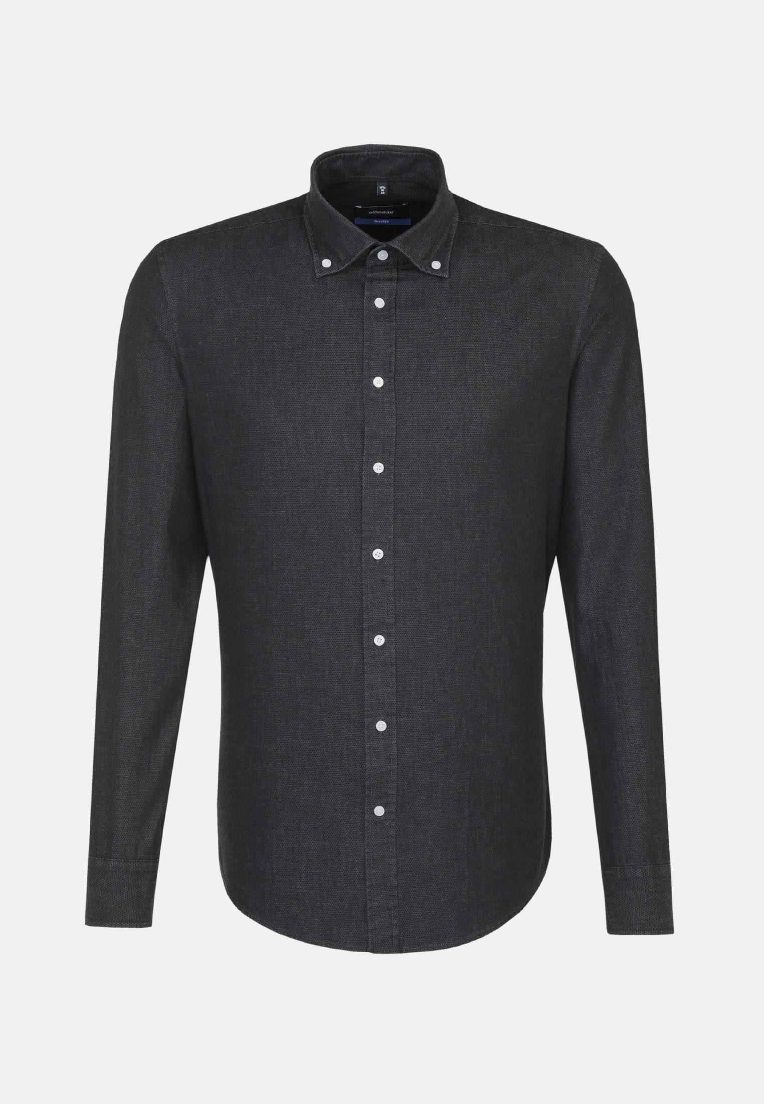 Bügelleichtes Denim Business Hemd in Shaped mit Button-Down-Kragen in Schwarz |  Seidensticker Onlineshop