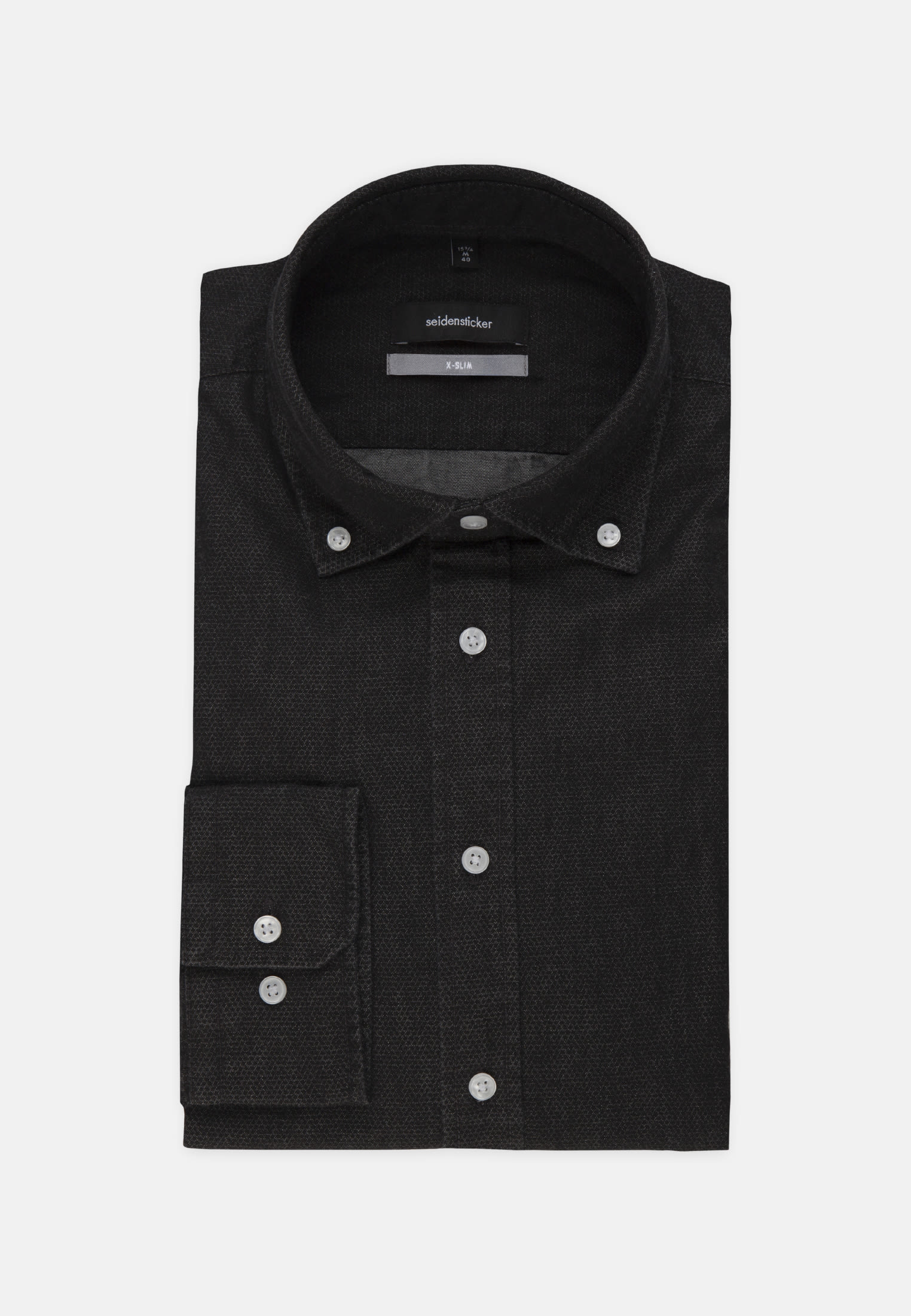 Bügelleichtes Denim Business Hemd in X-Slim mit Button-Down-Kragen in Schwarz |  Seidensticker Onlineshop
