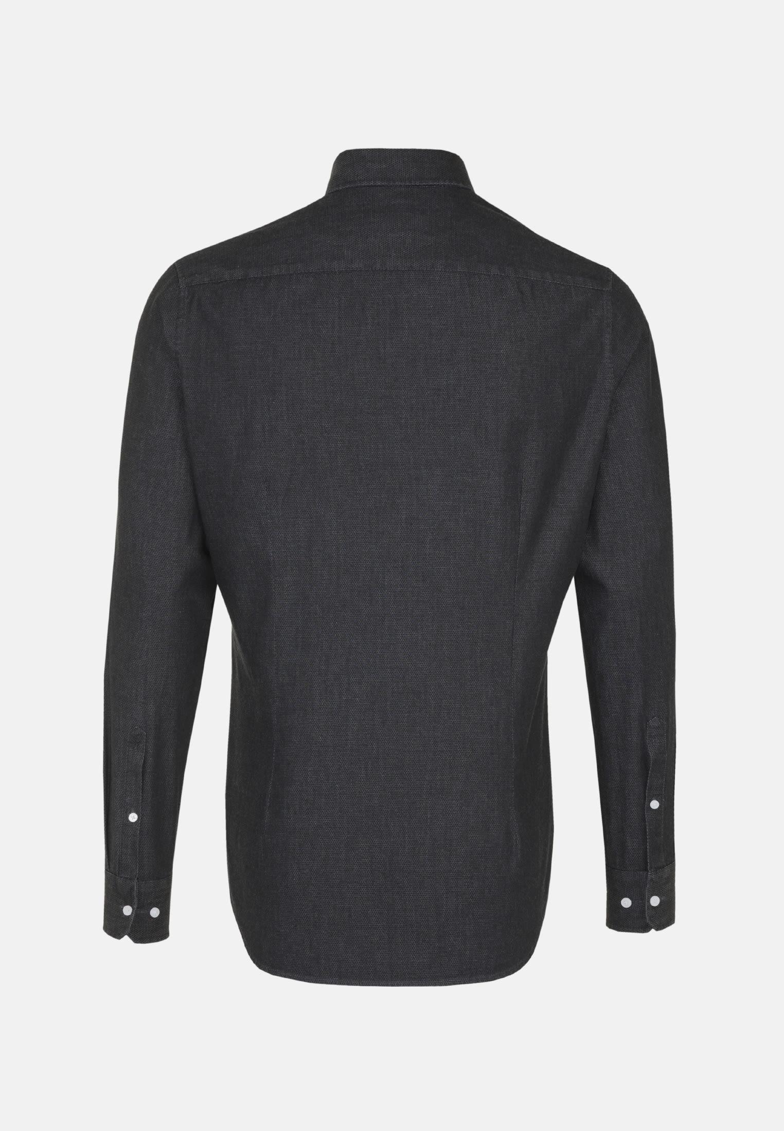 Easy-iron Denim Business Shirt in X-Slim with Button-Down-Collar in schwarz    Seidensticker Onlineshop