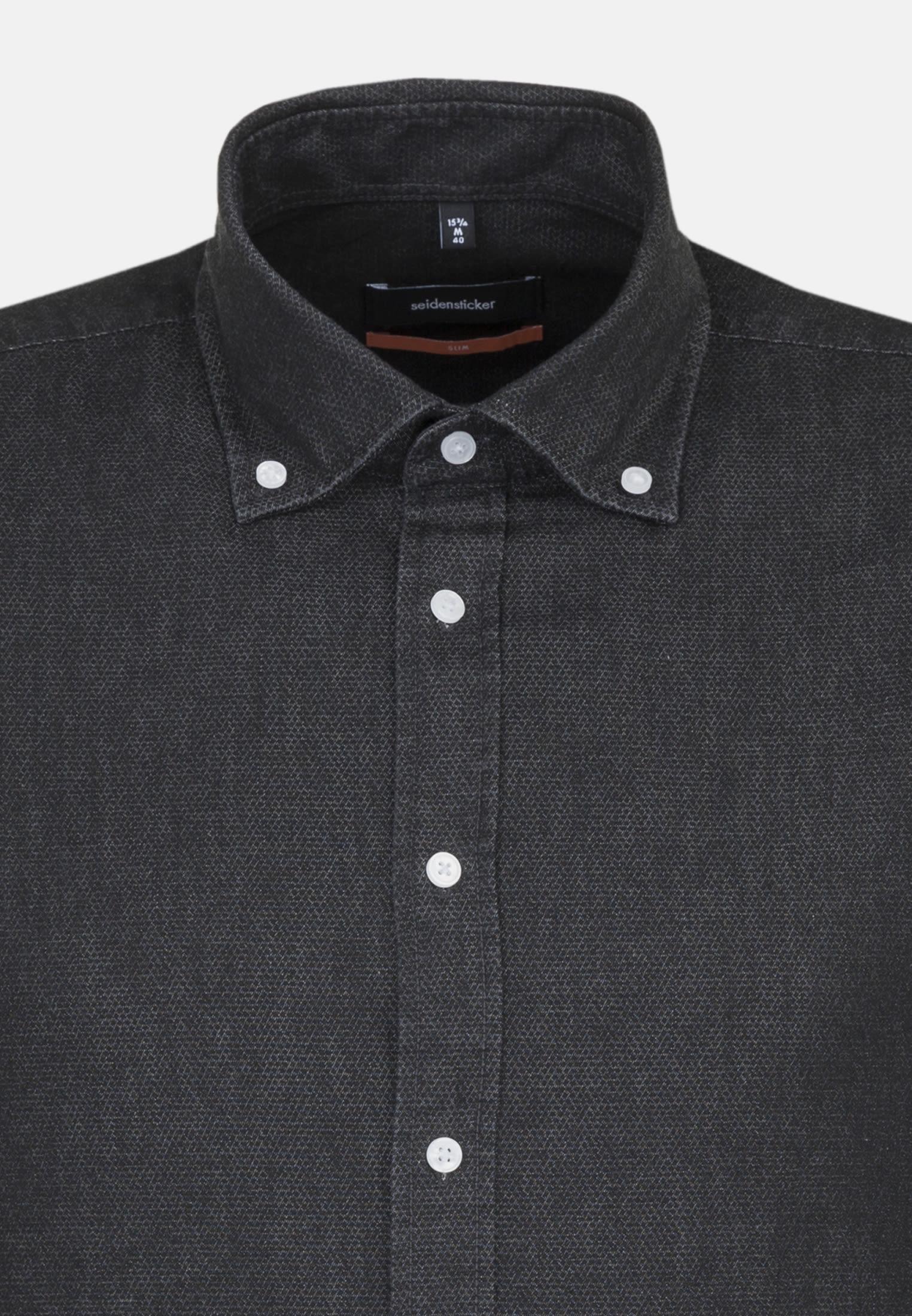 Bügelleichtes Denim Business Hemd in Slim mit Button-Down-Kragen in Schwarz |  Seidensticker Onlineshop
