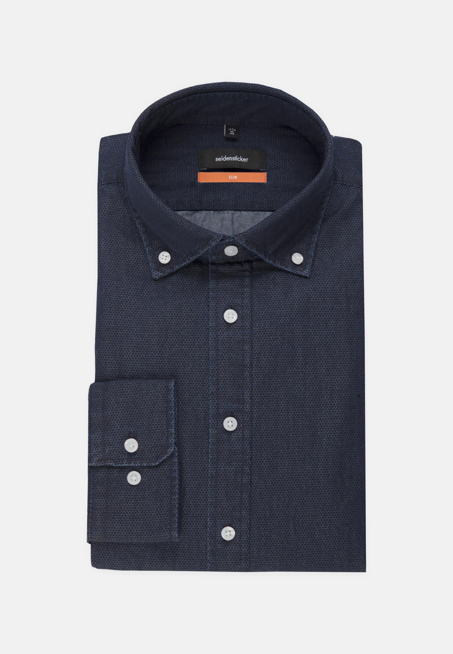 Easy-iron Denim Business Shirt in Slim with Button-Down-Collar in blau |  Seidensticker Onlineshop