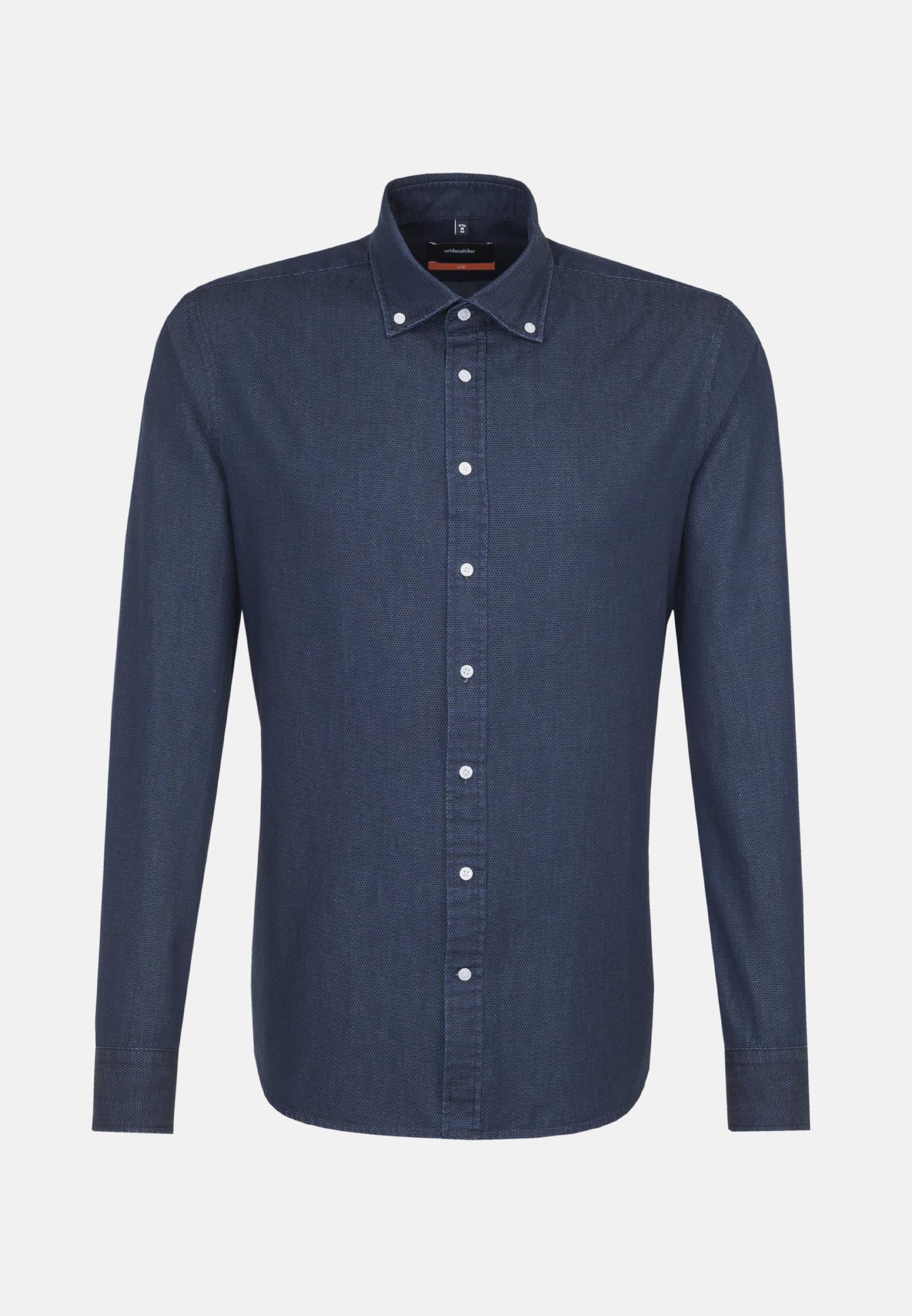Easy-iron Denim Business Shirt in Slim with Button-Down-Collar in Dark blue |  Seidensticker Onlineshop