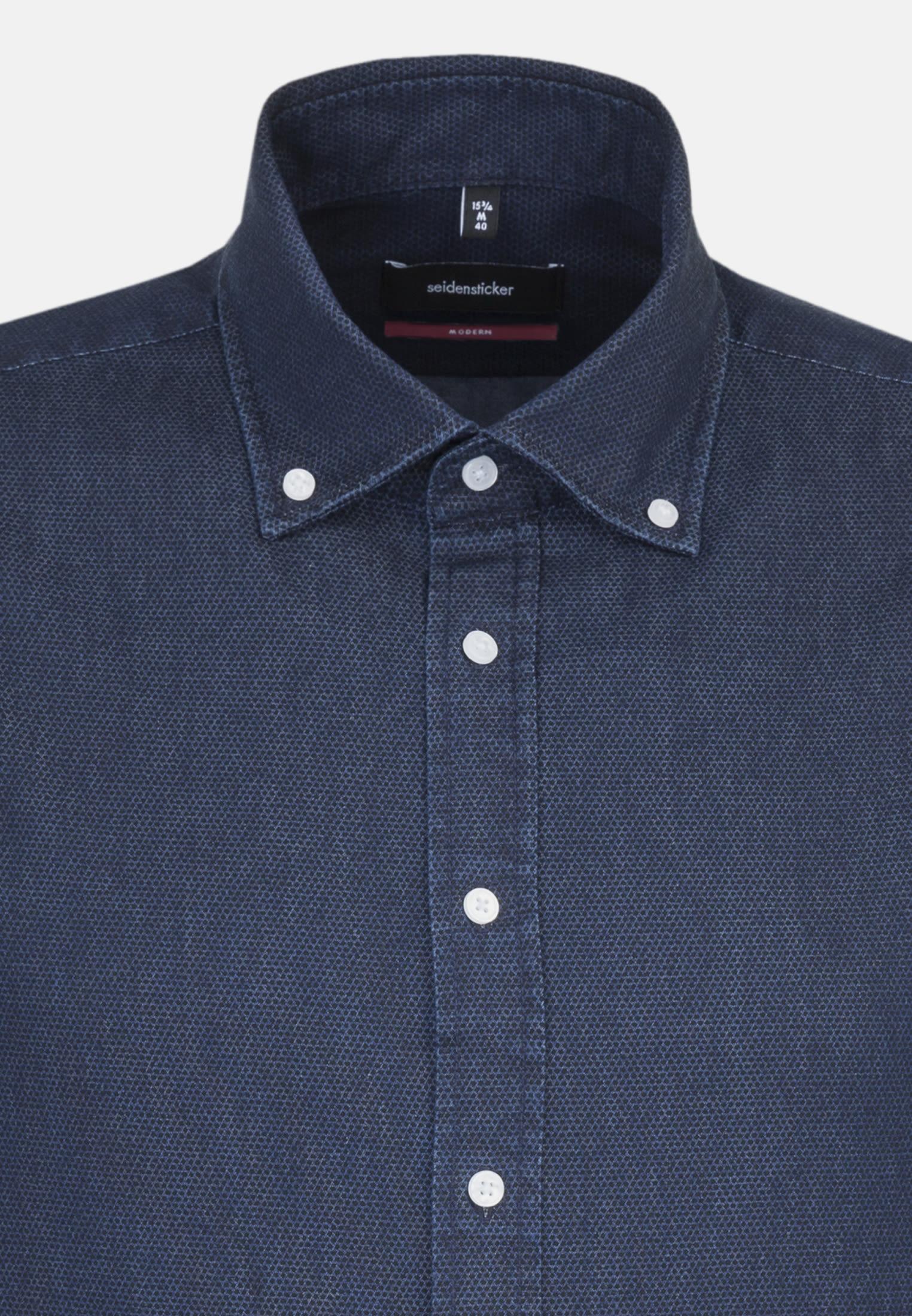 Bügelleichtes Denim Business Hemd in Modern mit Button-Down-Kragen in Dunkelblau |  Seidensticker Onlineshop