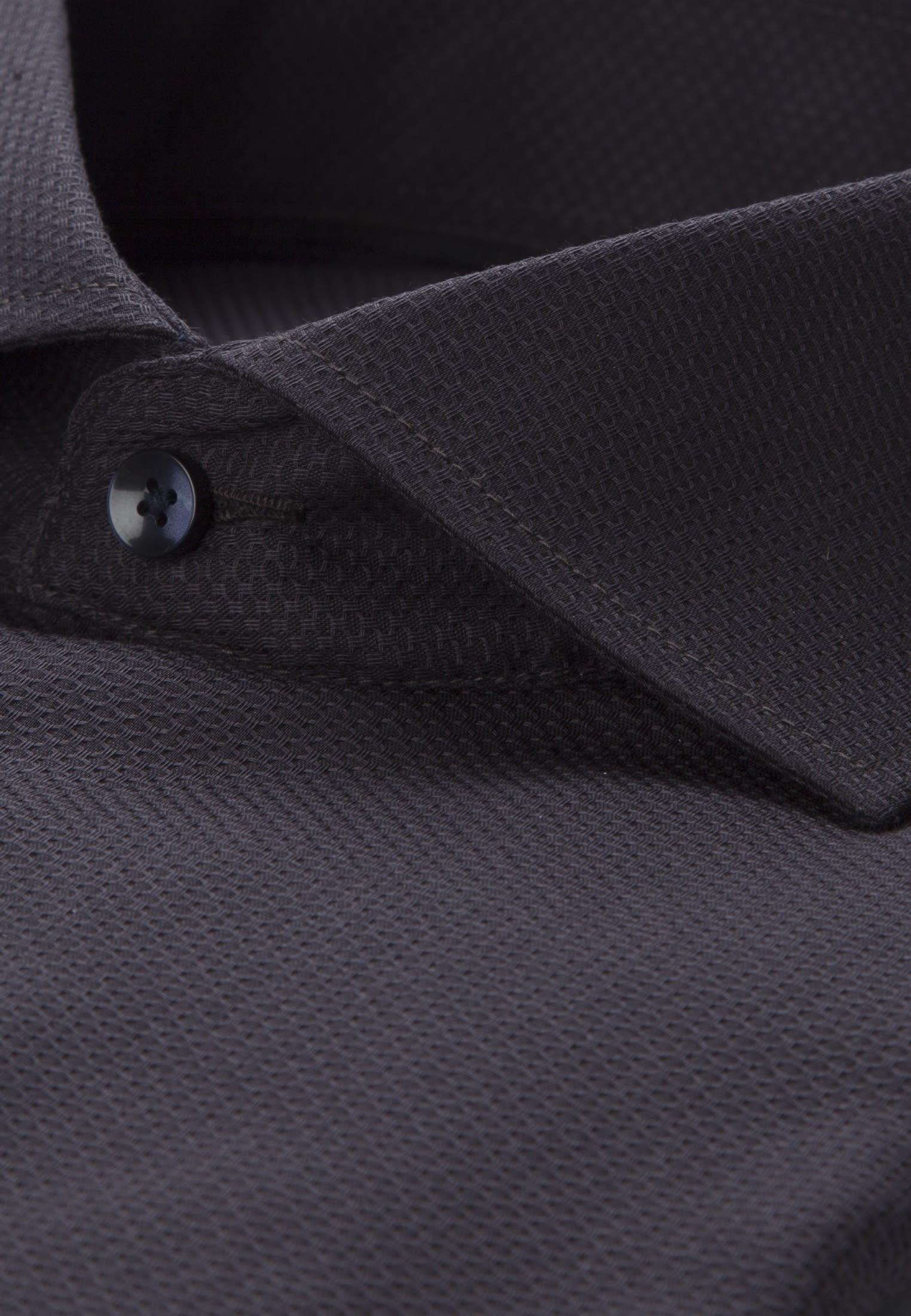 Bügelleichtes Struktur Business Hemd in Regular mit Kentkragen in Schwarz |  Seidensticker Onlineshop