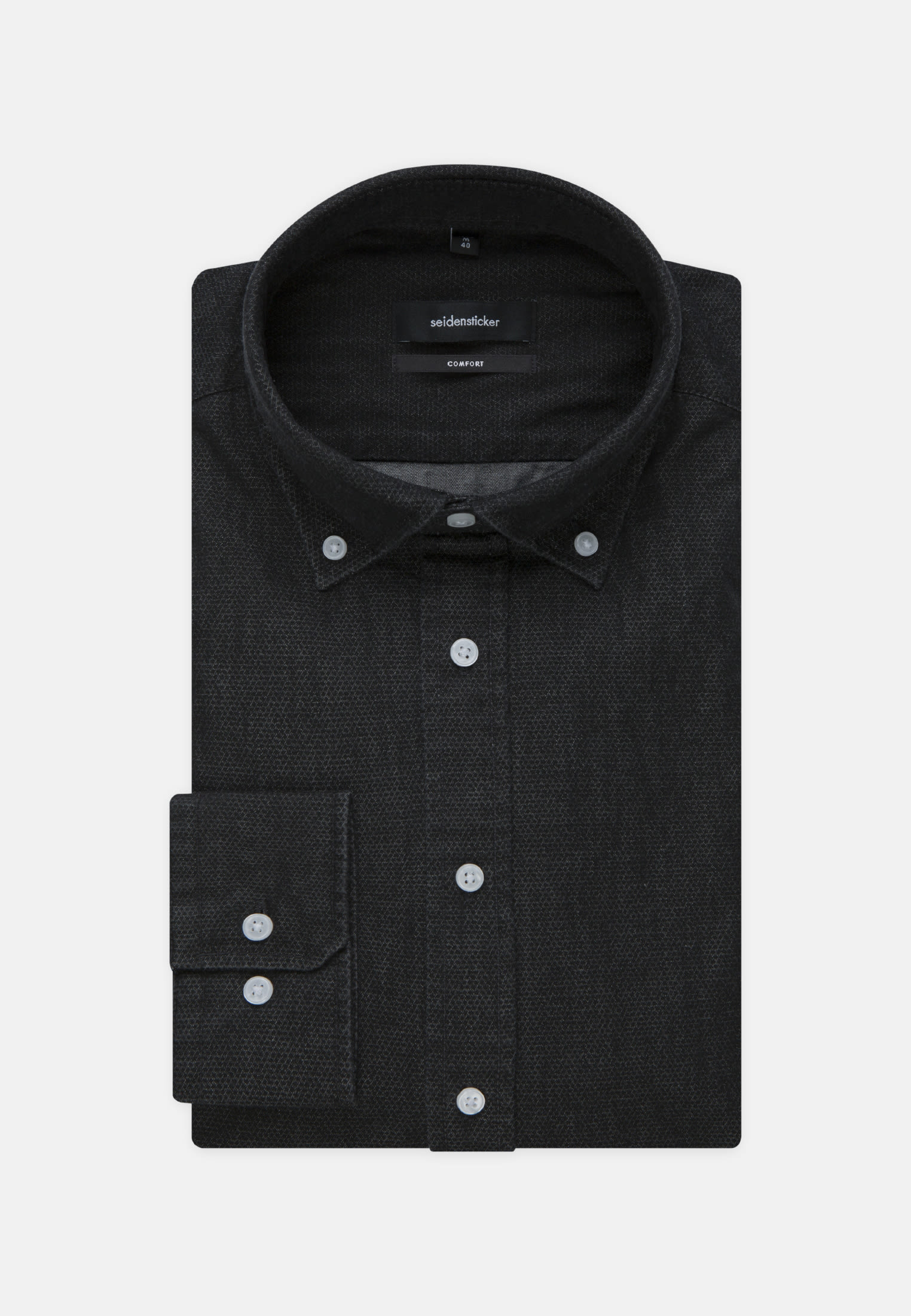 Easy-iron Denim Business Shirt in Comfort with Button-Down-Collar in Black |  Seidensticker Onlineshop