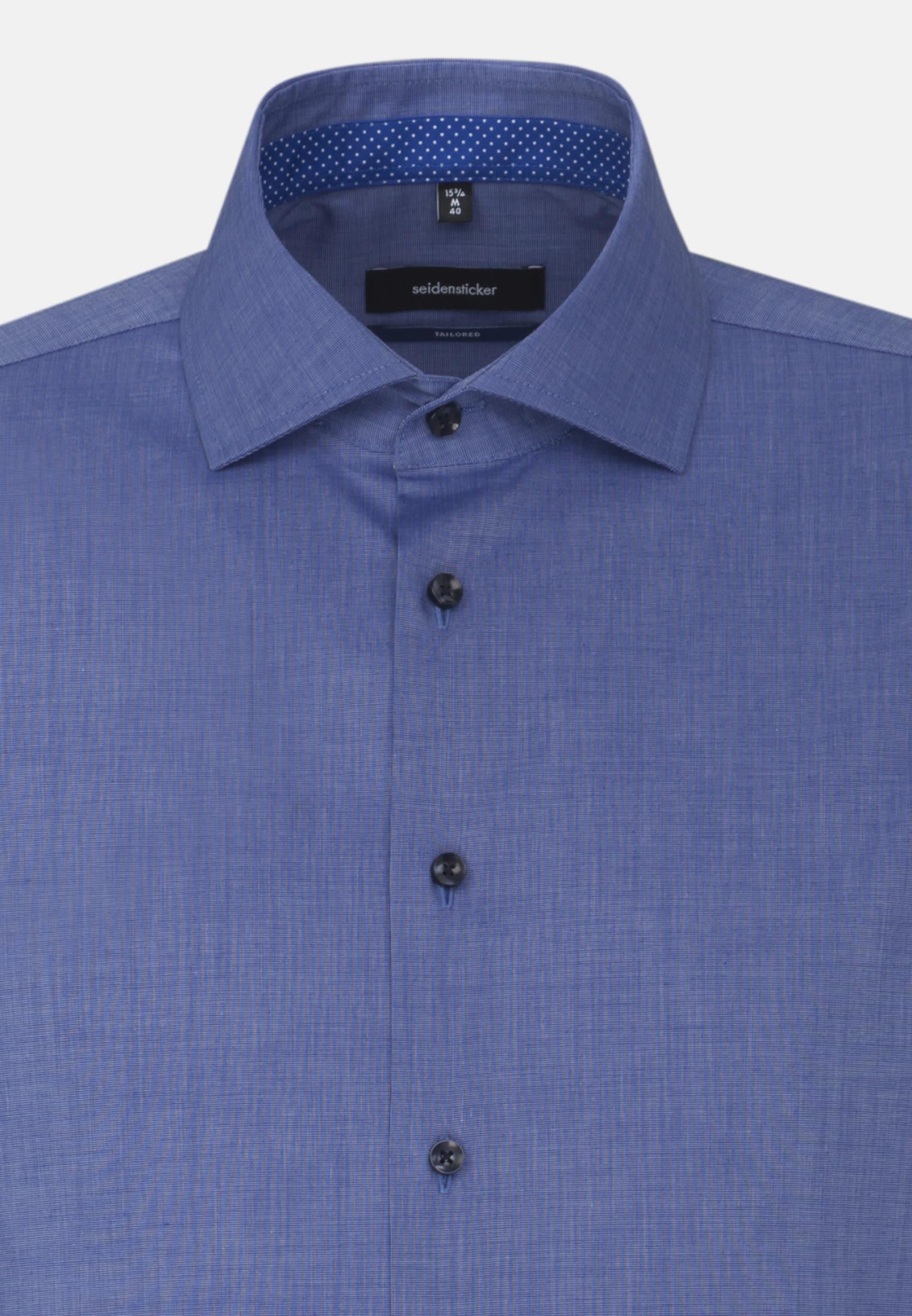 Bügelfreies Fil a fil Business Hemd in Shaped mit Kentkragen und extra langem Arm in Mittelblau |  Seidensticker Onlineshop
