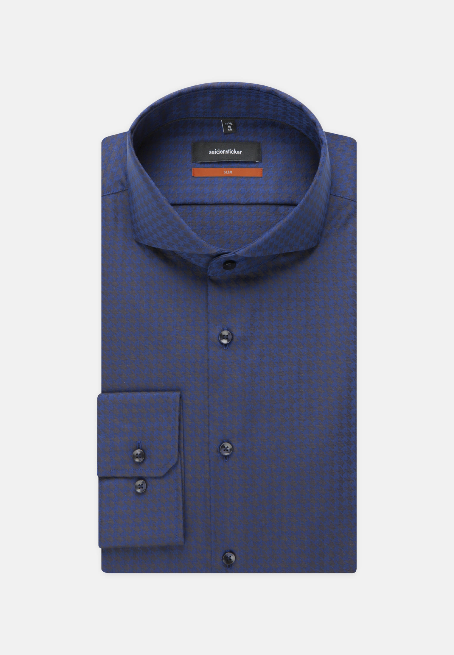 Easy-iron Houndstooth pattern Business Shirt in Slim with Shark Collar in blau |  Seidensticker Onlineshop