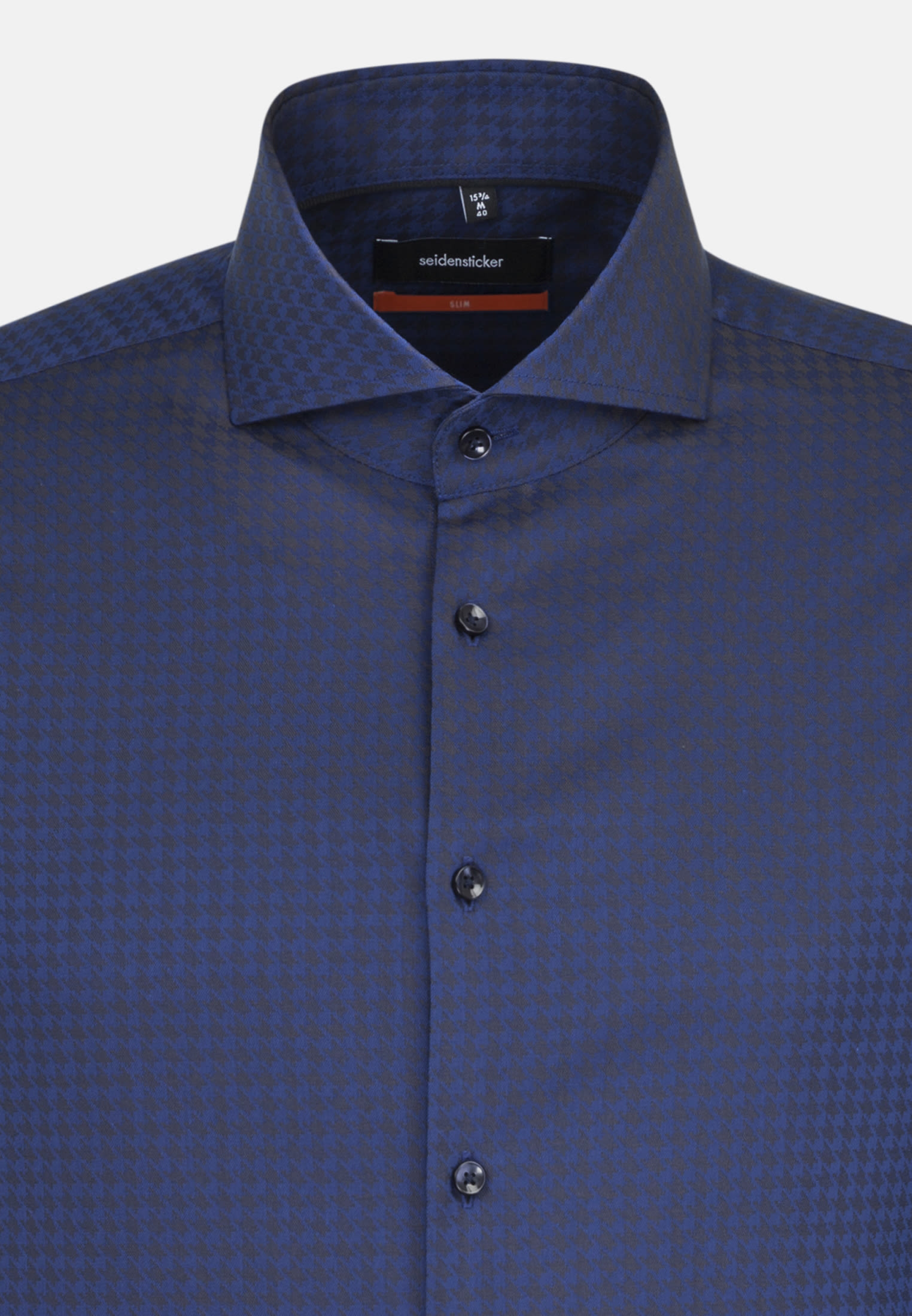 Easy-iron Houndstooth pattern Business Shirt in Slim with Shark Collar in Medium blue |  Seidensticker Onlineshop