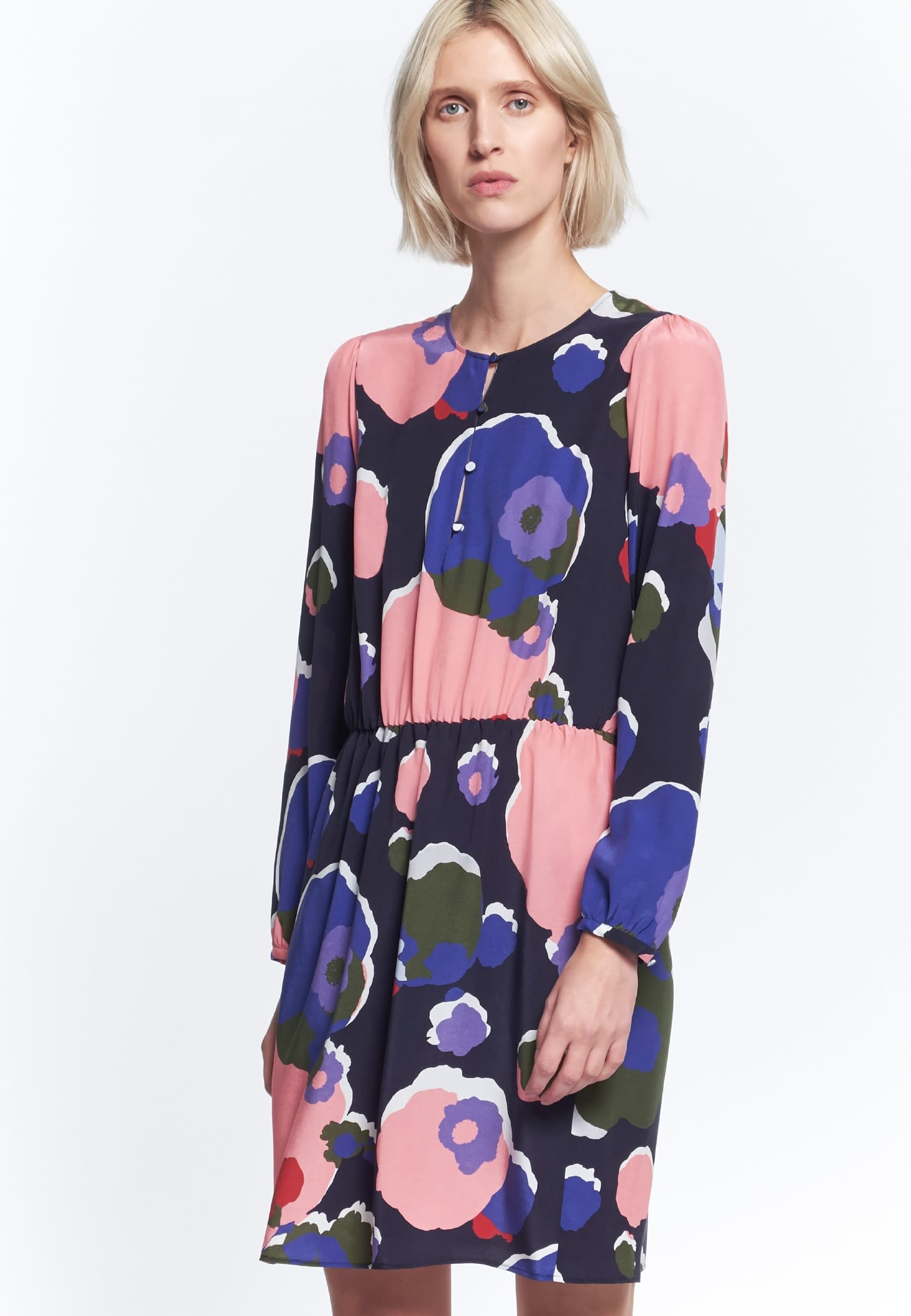 Midi Dress made of 55% Cupro 45% Viskose in Dark blue |  Seidensticker Onlineshop