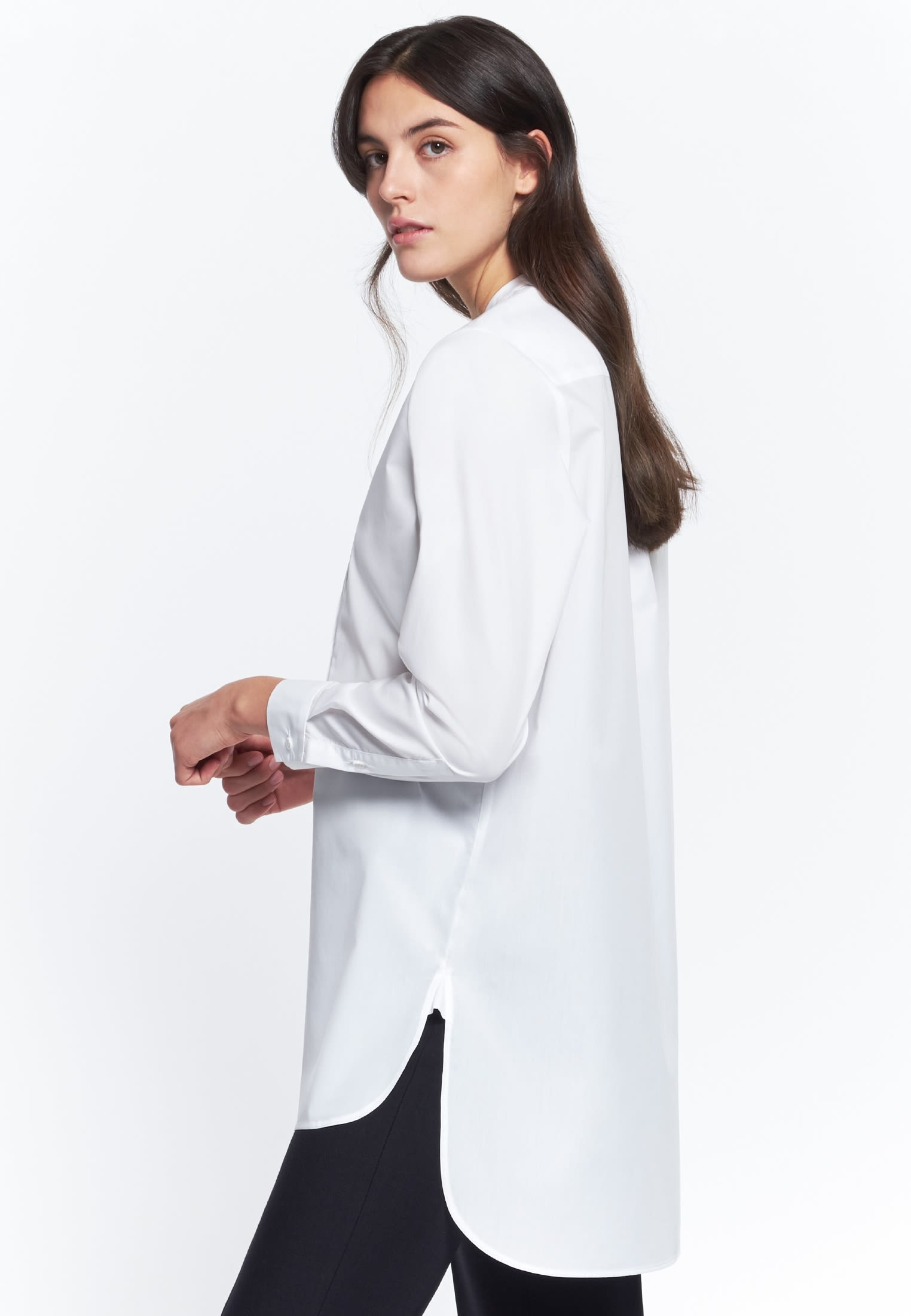 Poplin Long Blouse made of 100% Cotton in weiß |  Seidensticker Onlineshop