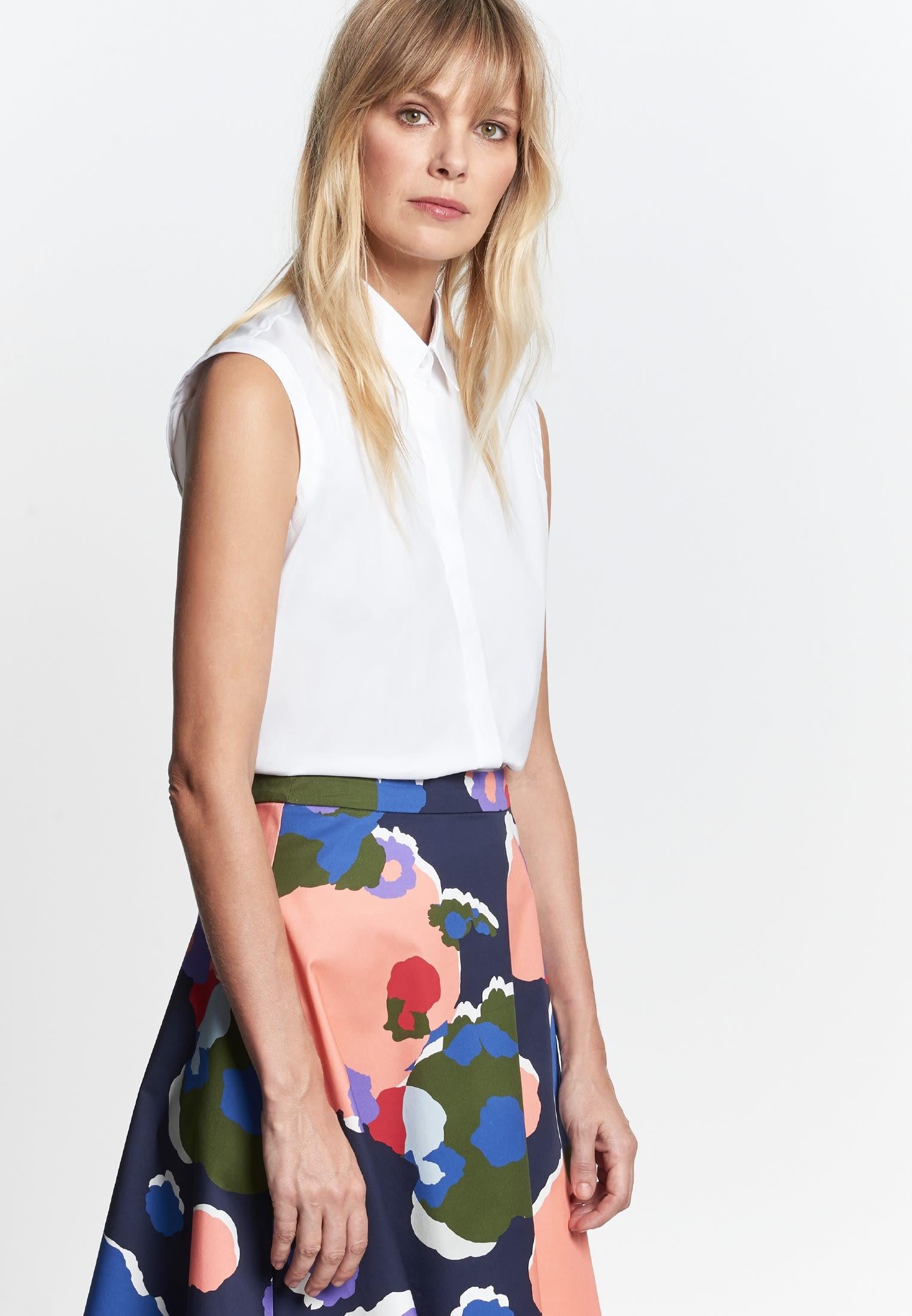 Sleeveless Poplin Shirt Blouse made of cotton blend in White |  Seidensticker Onlineshop