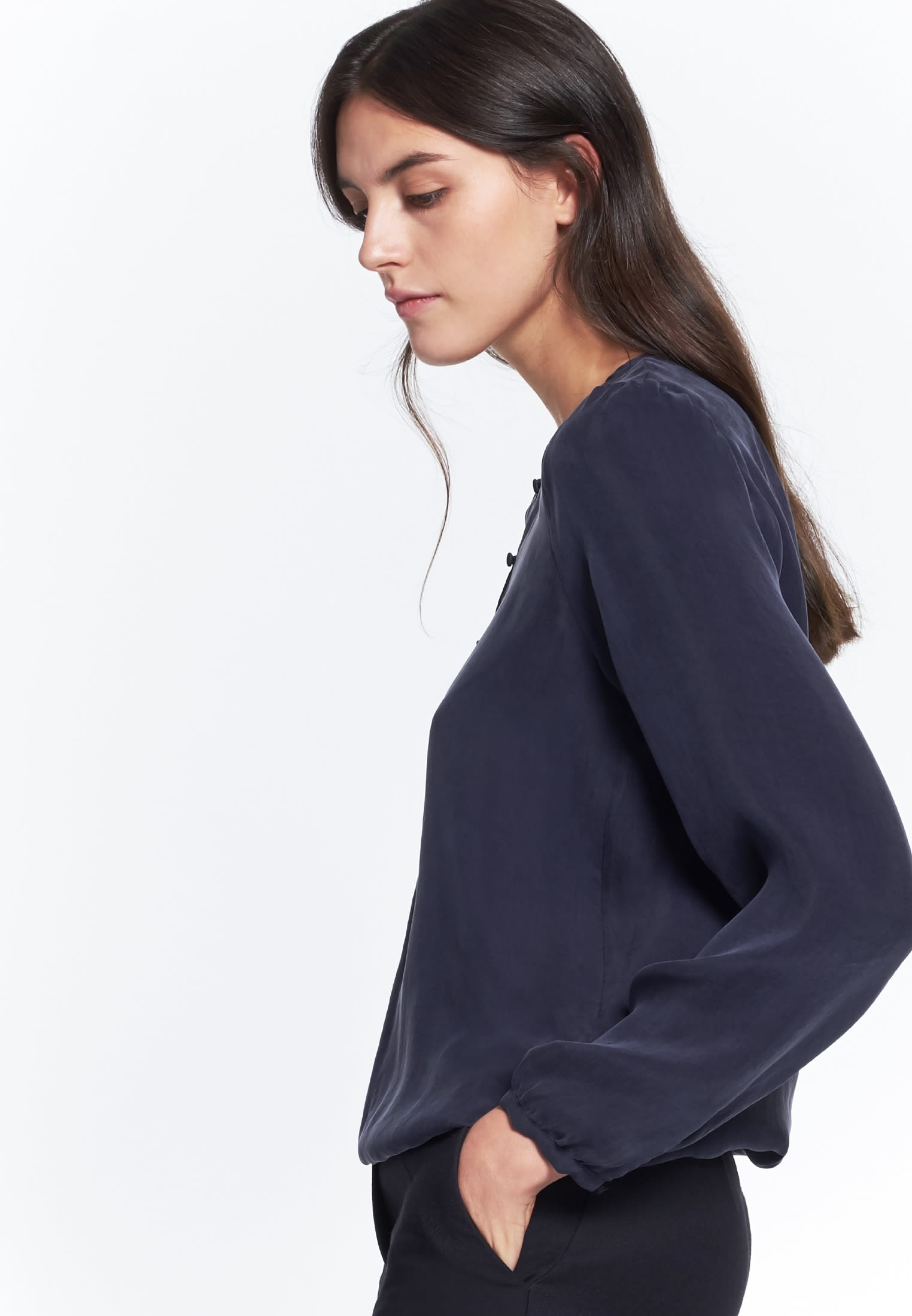 Shirt Blouse made of rayon blend in Dark blue |  Seidensticker Onlineshop