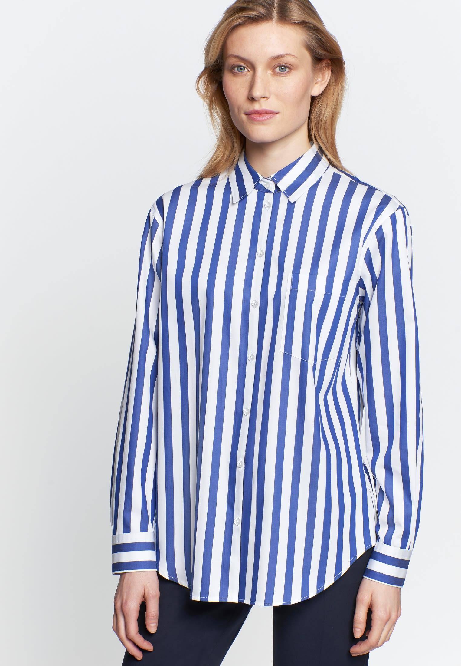 Damen Satin Hemdbluse aus 100% Baumwolle mittelblau