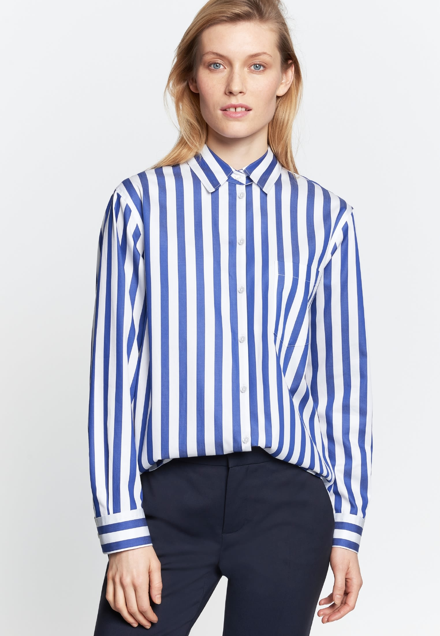 Satin Shirt Blouse made of 100% Cotton in Medium blue |  Seidensticker Onlineshop