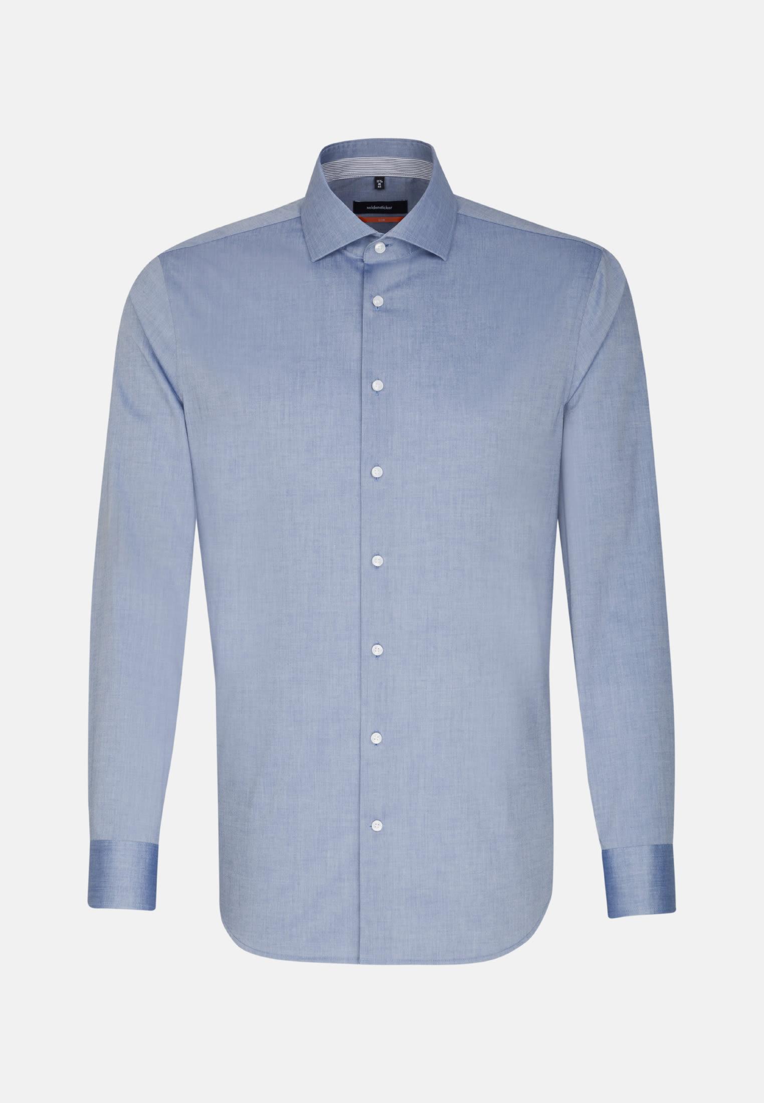 Bügelfreies Chambray Business Hemd in Slim mit Kentkragen in Dunkelblau    Seidensticker Onlineshop