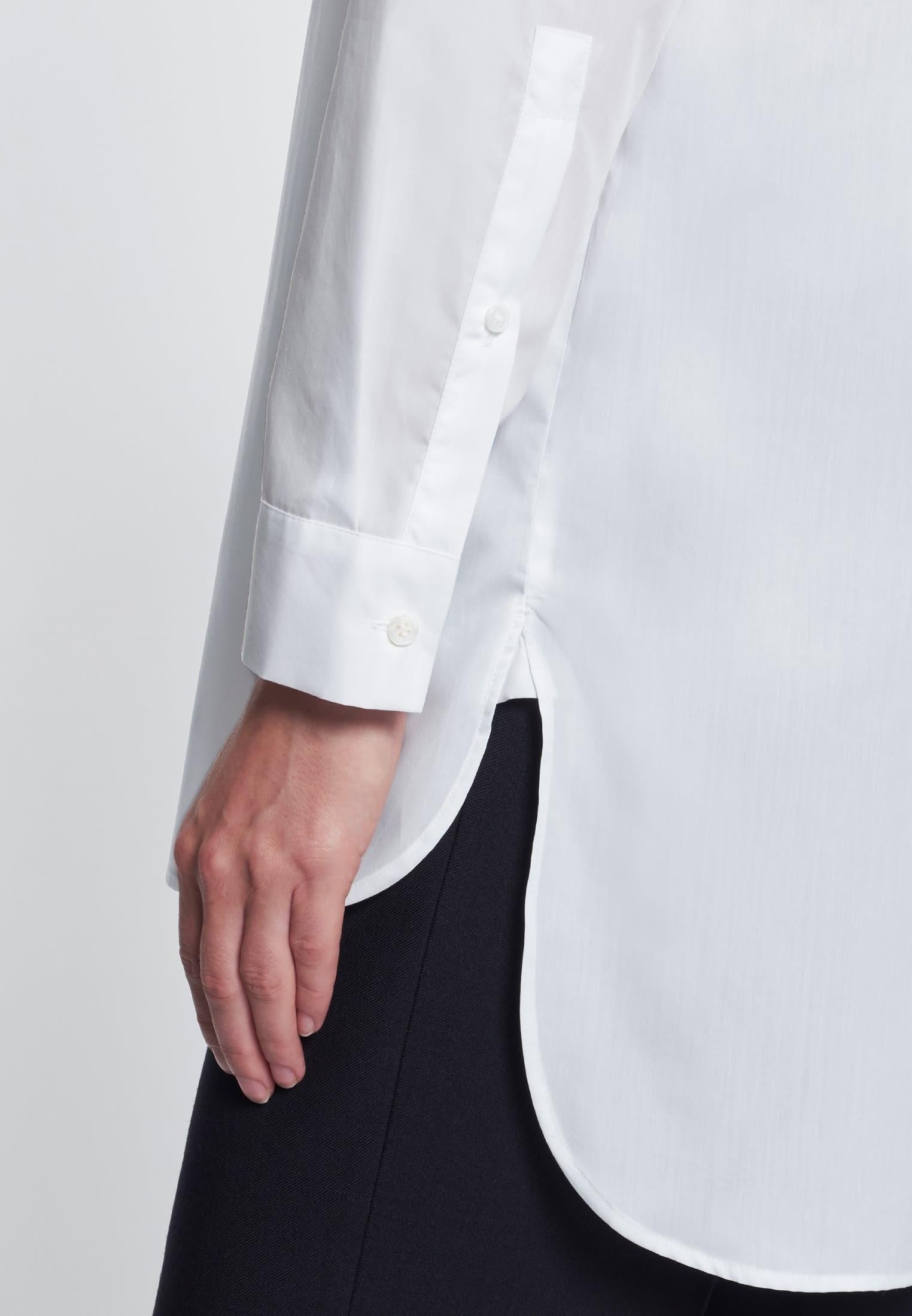 Poplin Long Blouse made of 100% Cotton in White    Seidensticker Onlineshop