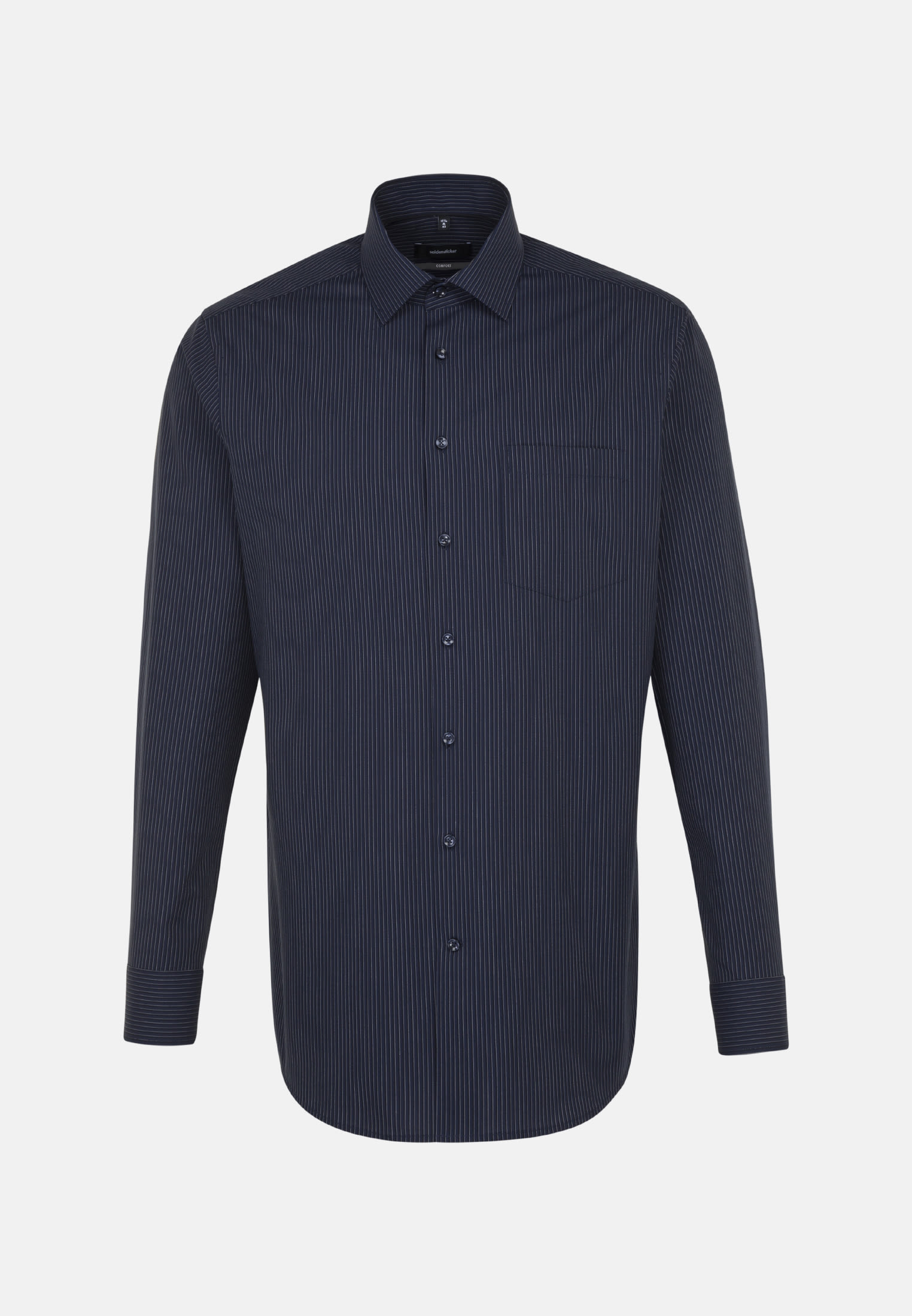 Non-iron Poplin Business Shirt in Comfort with Kent-Collar in Dark blue |  Seidensticker Onlineshop
