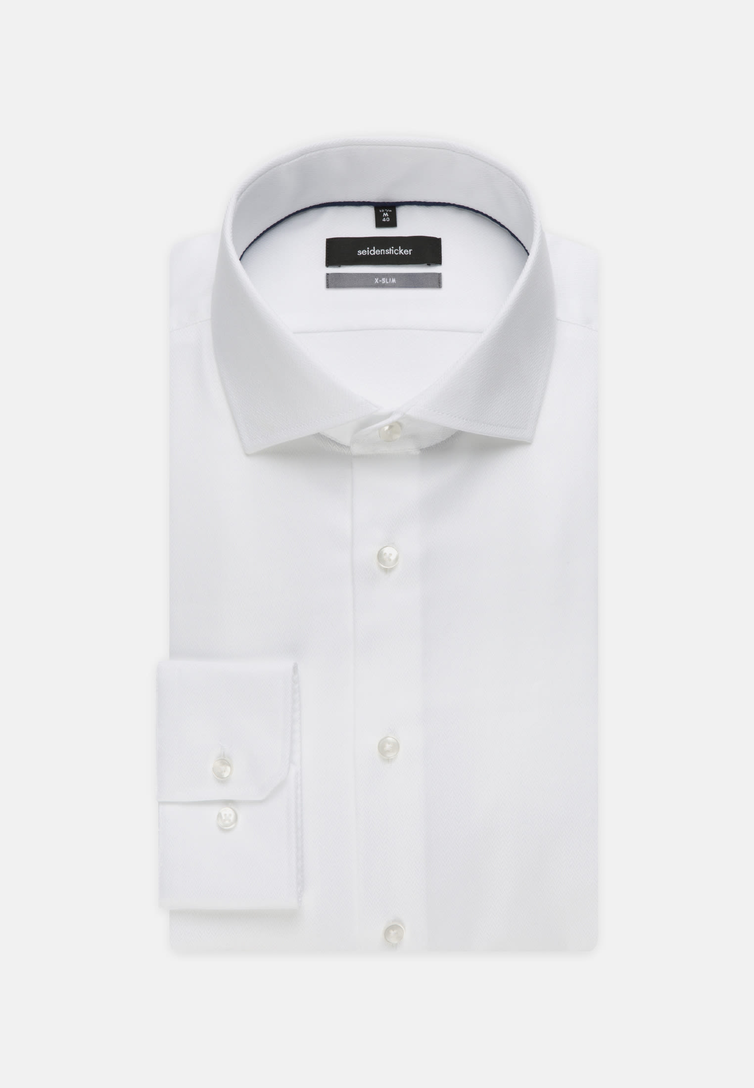 Non-iron Herringbone pattern Business Shirt in X-Slim with Kent-Collar in weiß |  Seidensticker Onlineshop